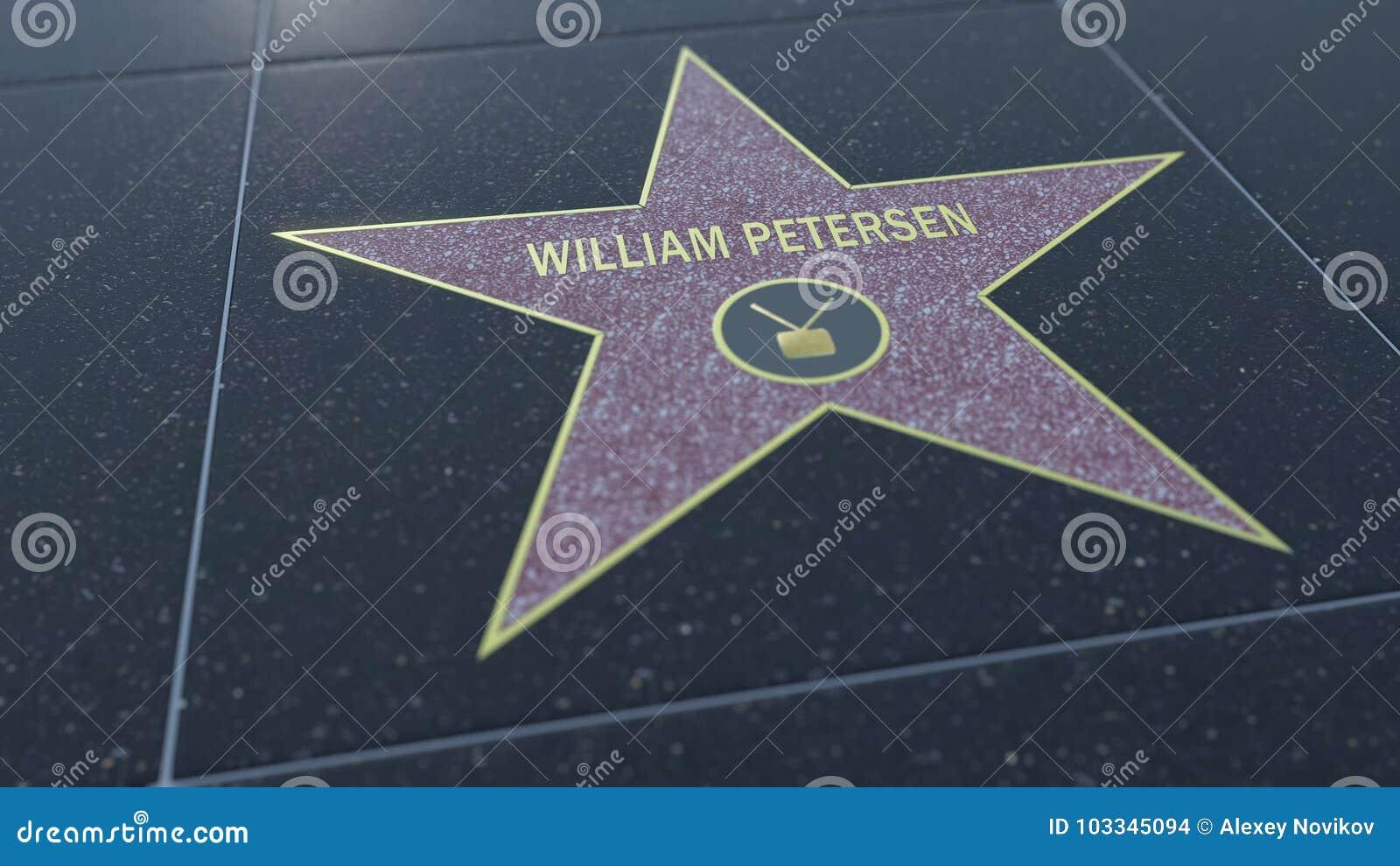 Hollywoodgang van Bekendheidsster met WILLIAM PETERSEN-inschrijving Het redactie 3D teruggeven