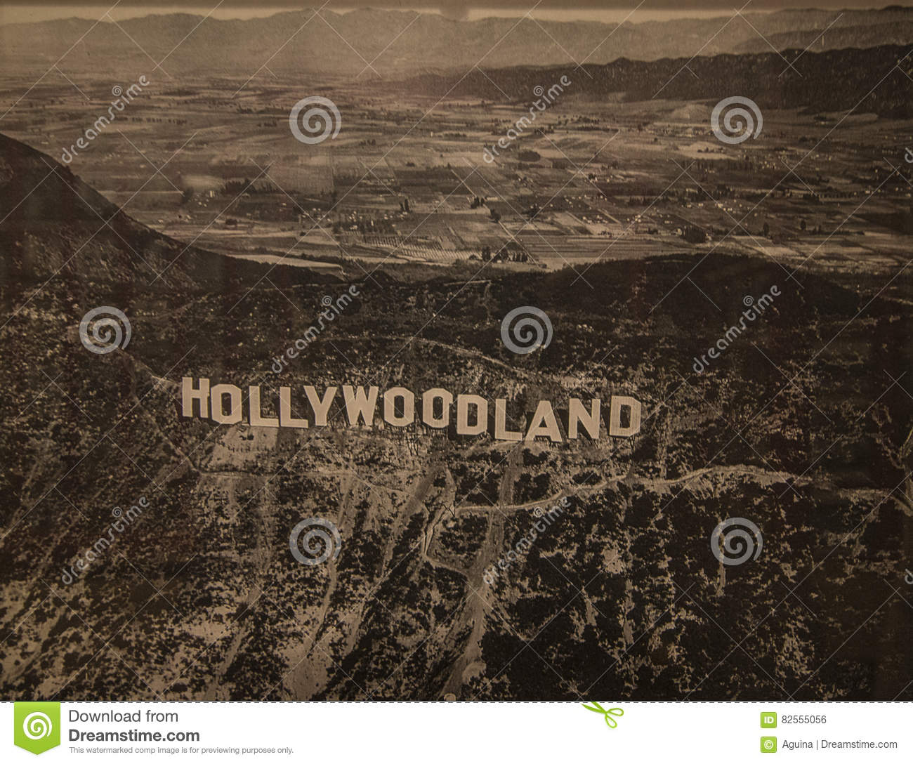 hollywoodland sign hollywood museum los angeles editorial photo
