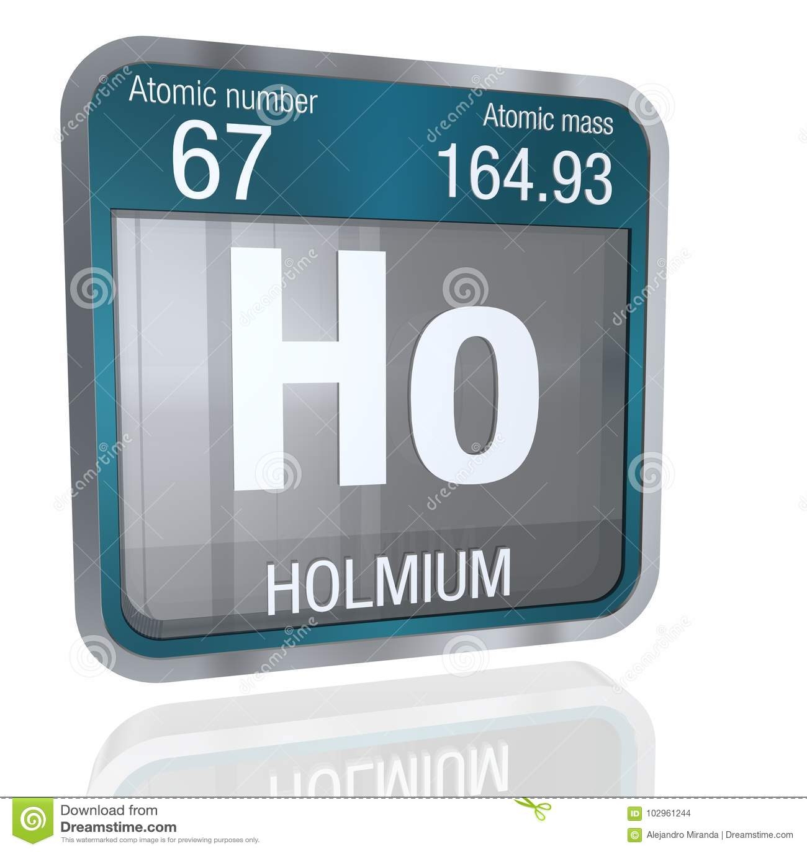 Holmium Symbol In Square Shape With Metallic Border And Transparent