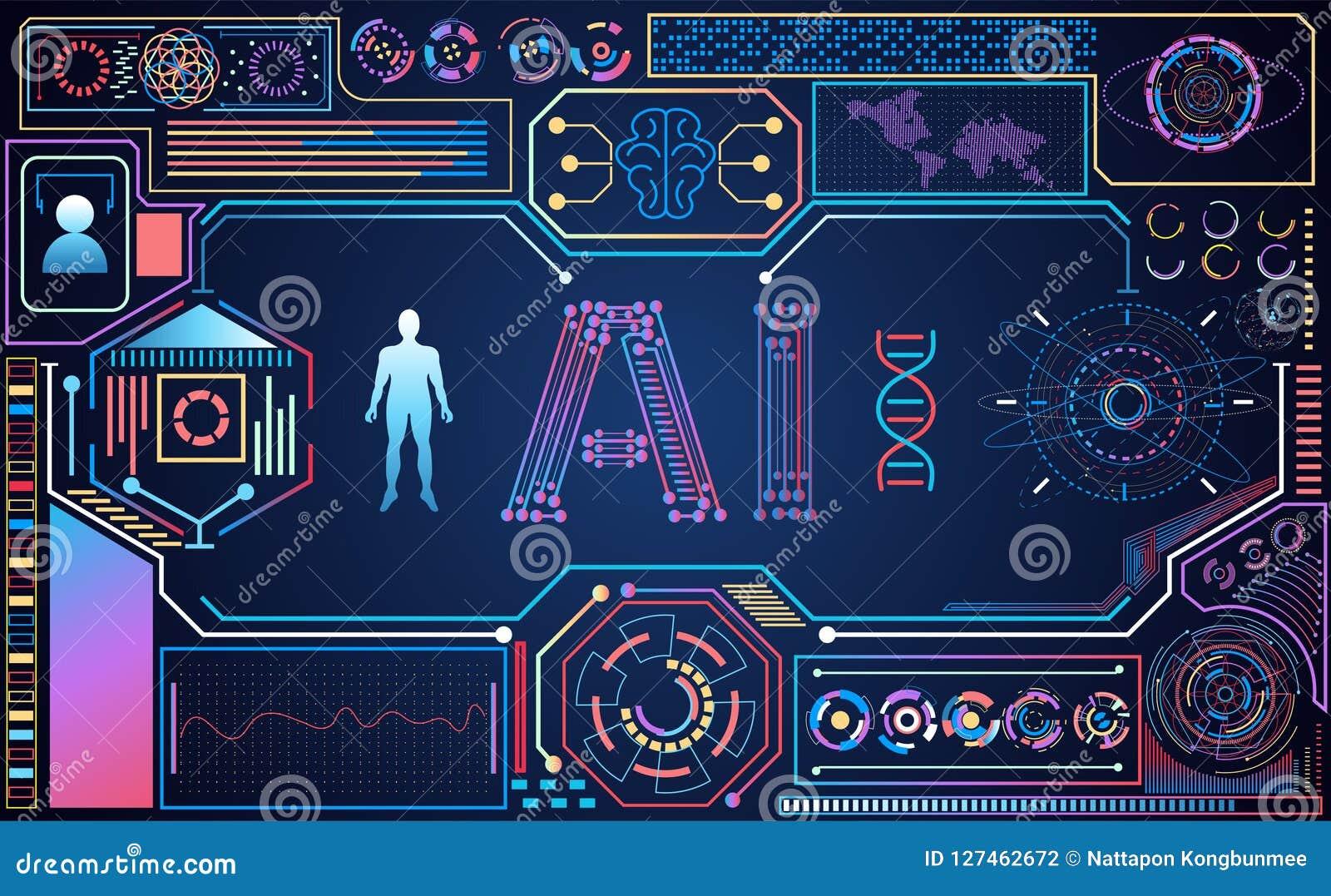 Holo coloré futuriste d interface de hud de l ui abstrait AI de technologie
