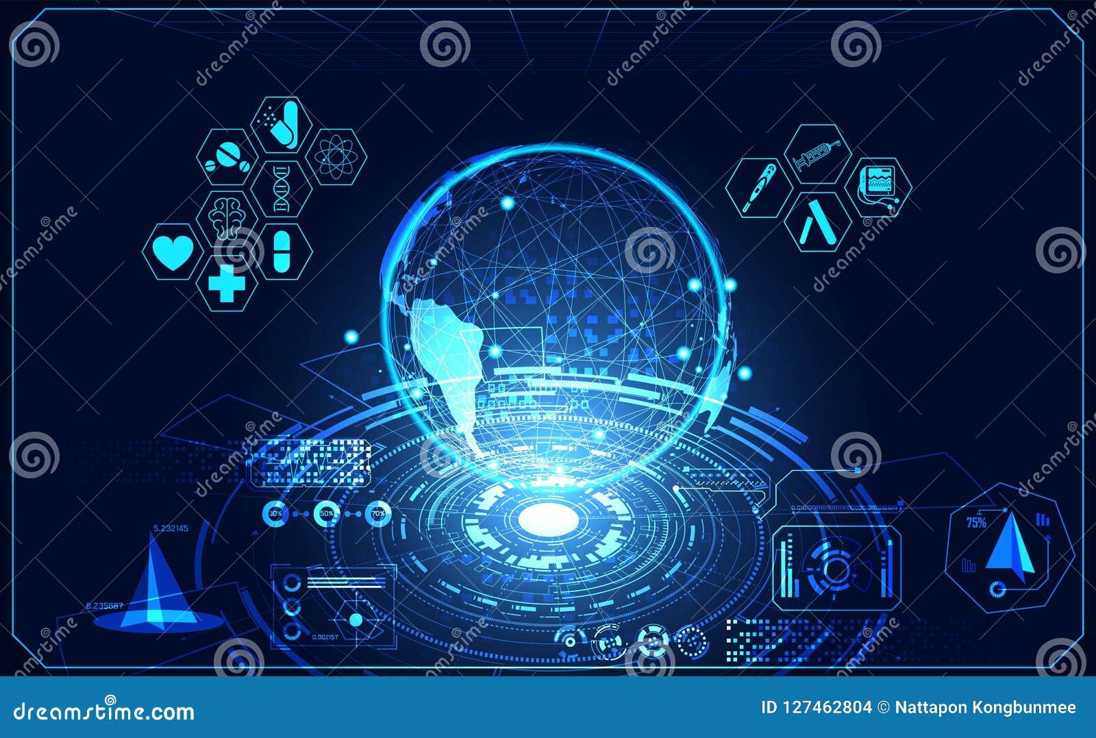 Hologr futuristico dell interfaccia del hud di salute di ui medico astratto del mondo