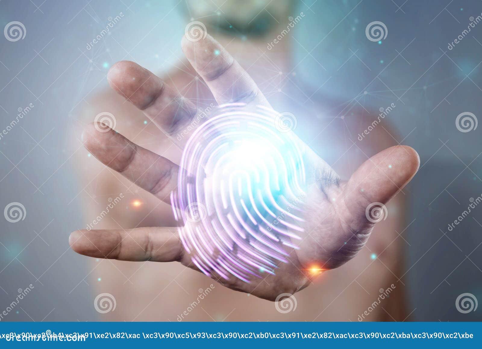 Hologram fingerprint, male hand scanning fingerprints. concept of fingerprint, biometrics, information technology and cyber