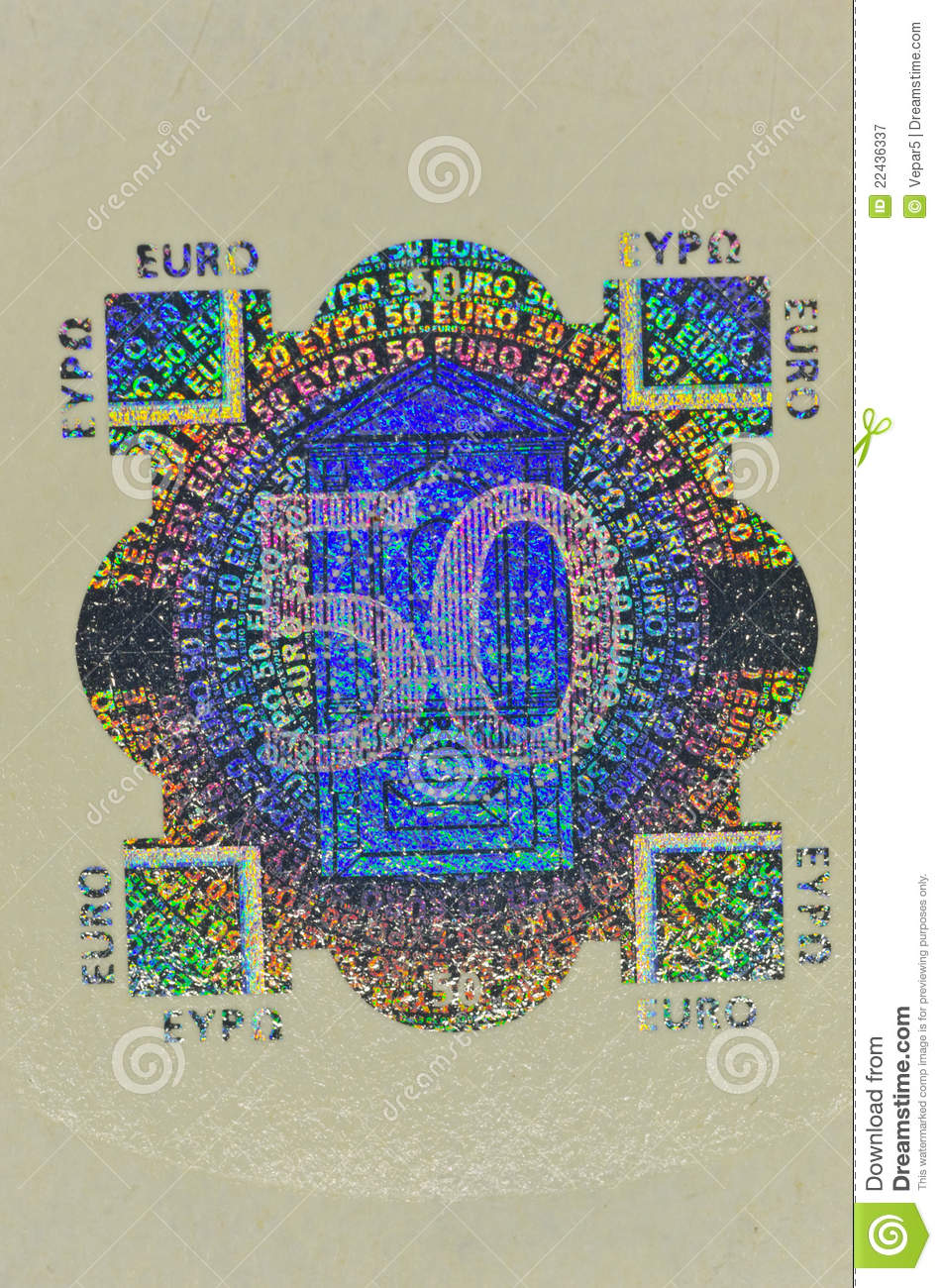 hologram protection on 50 euro banknote royalty free stock
