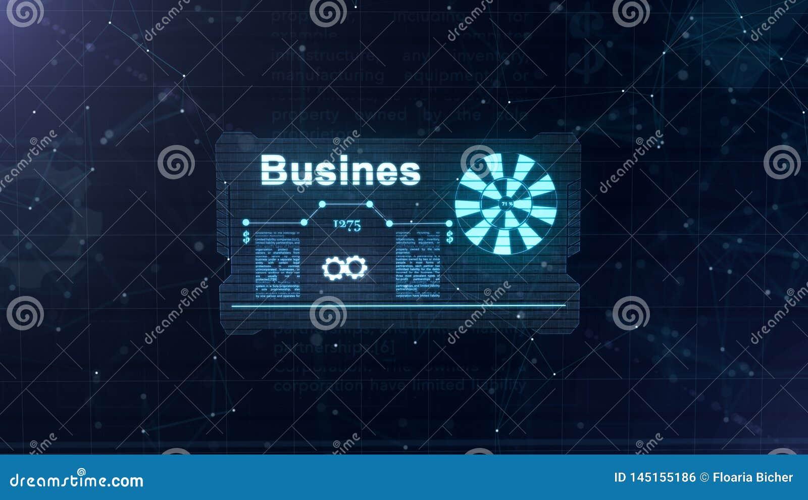 Holograma abstracto Tarjeta de visita con una muestra de dardos, de la rueda dentada azul y de algunos otros diagramas Fondo azul