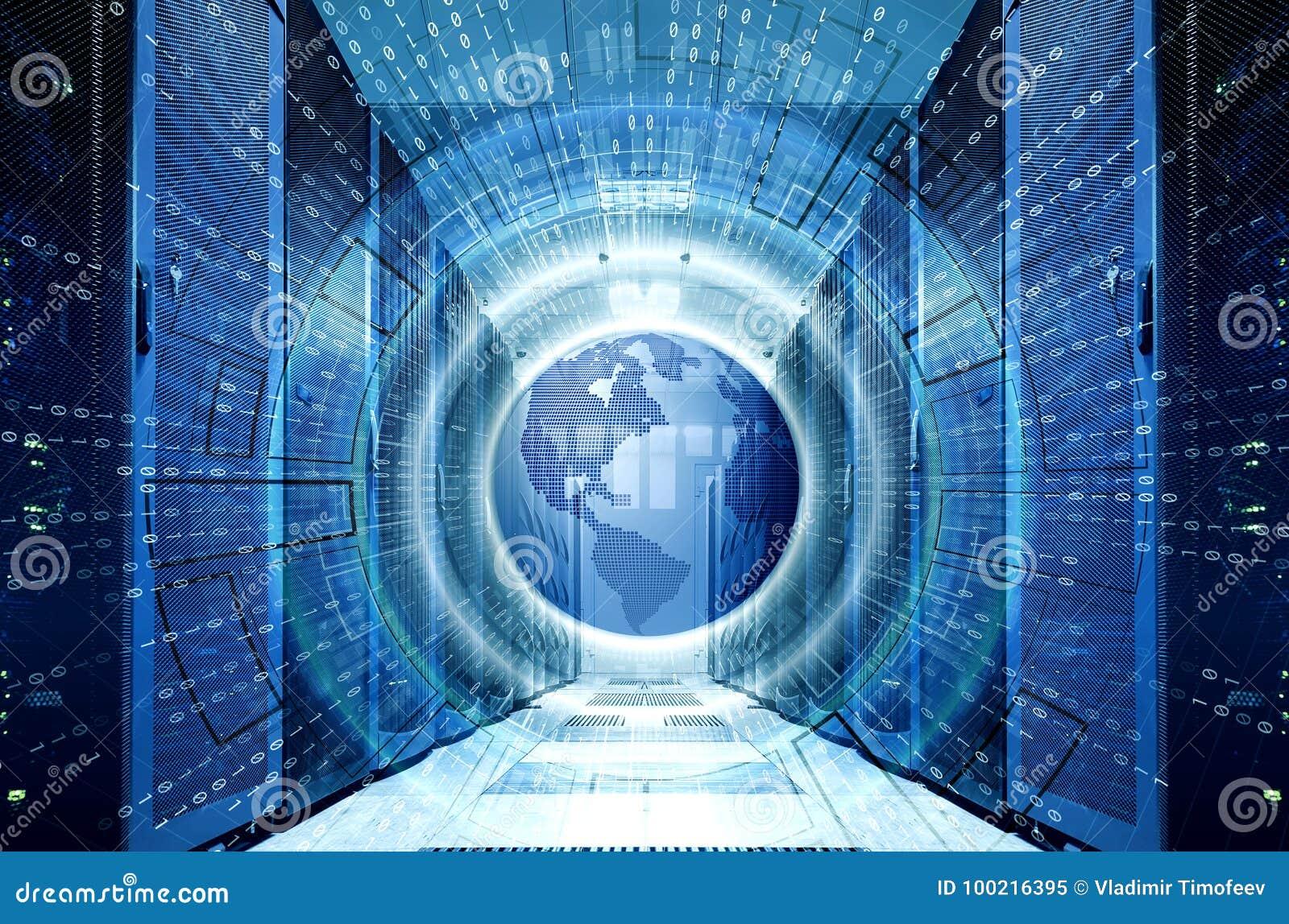 Holograma con tierra del planeta y código binario en centro de datos simétrico del fondo con filas de superordenadores Datos gran
