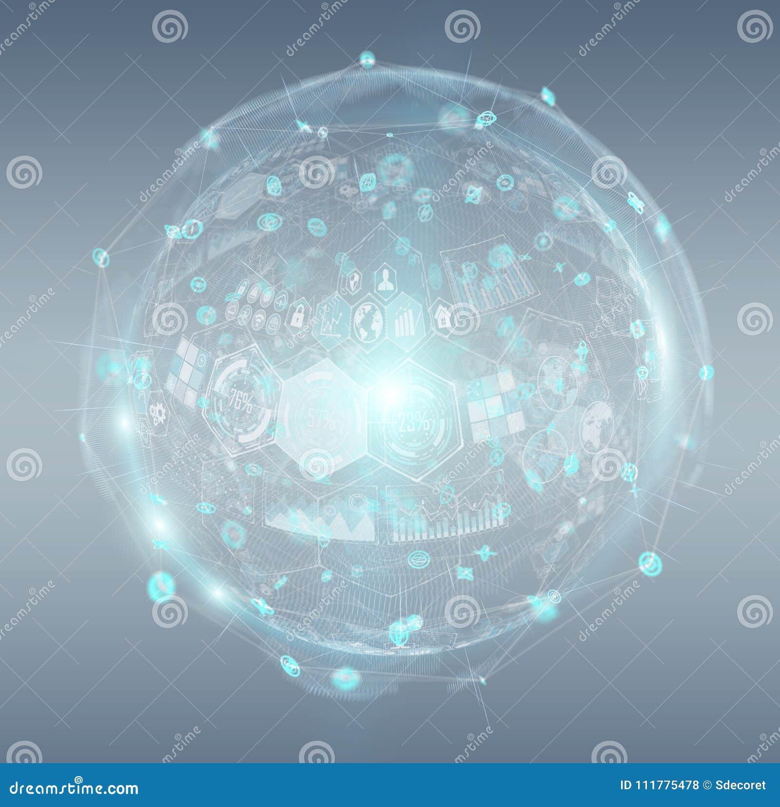 Holograms datas digital sphere 3D rendering