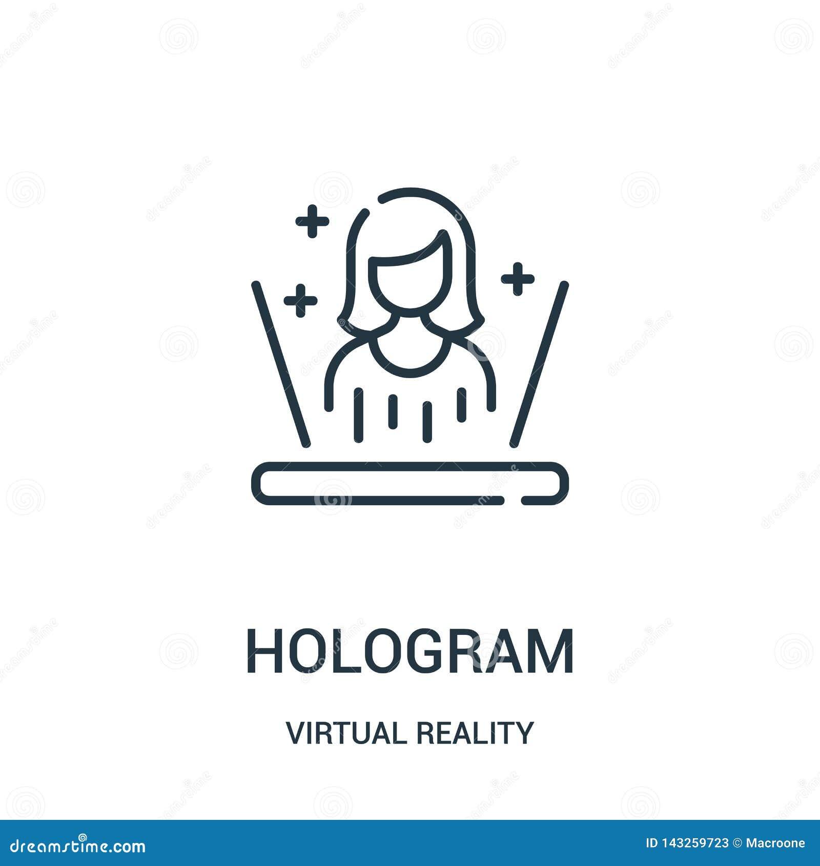 Hologramsymbolsvektor från virtuell verklighetsamling Tunn linje illustration för vektor för hologramöversiktssymbol