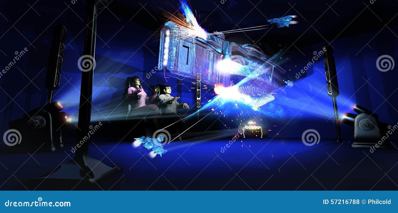 holographic cinema stock illustration image 57216788. Black Bedroom Furniture Sets. Home Design Ideas