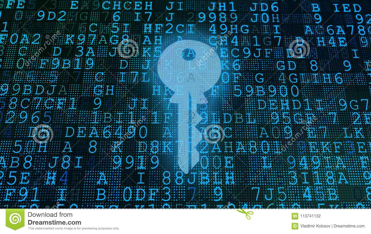 Codes And Key Display With Blue Formulas Stock Illustration
