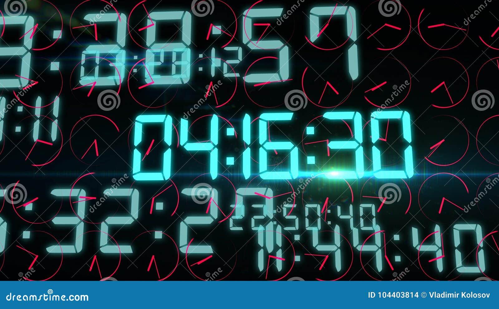 Digital Time Screen Illustration Stock Illustration - Illustration