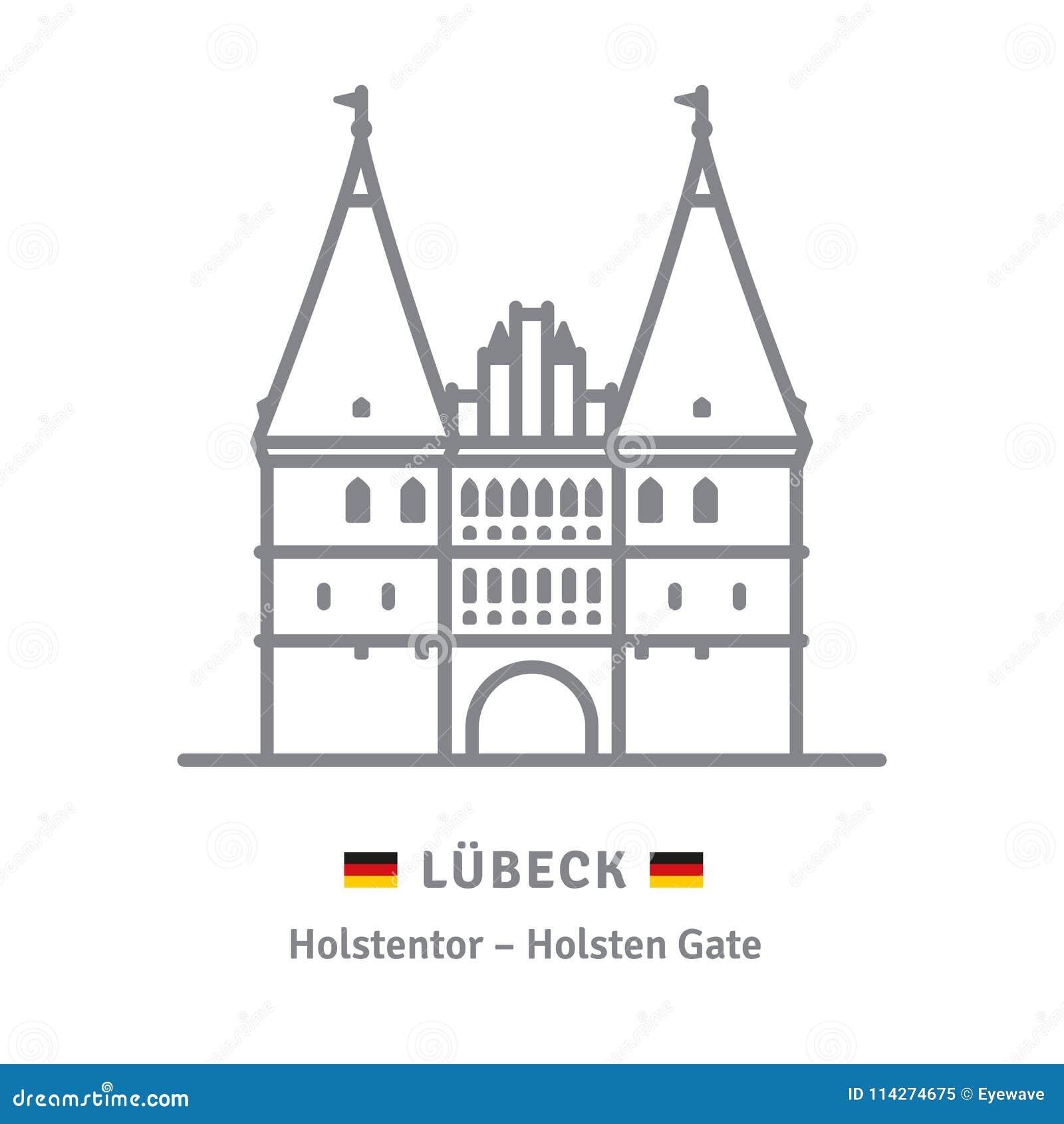 Holsten brama przy Lubeck ikoną