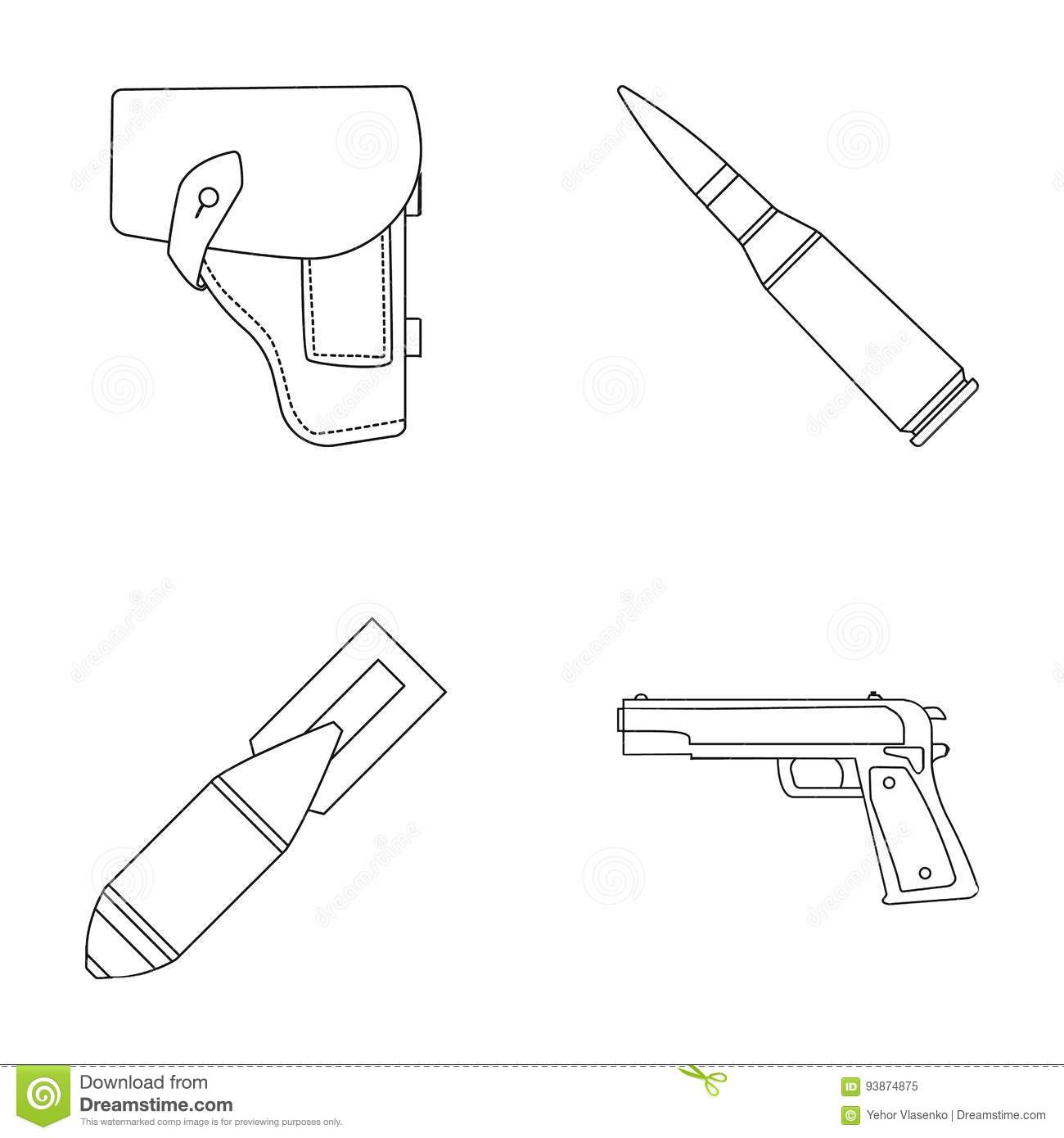 Holster cartridge air bomb pistol military and army set holster cartridge air bomb pistol military and army set collection icons in outline style vector symbol stock buycottarizona