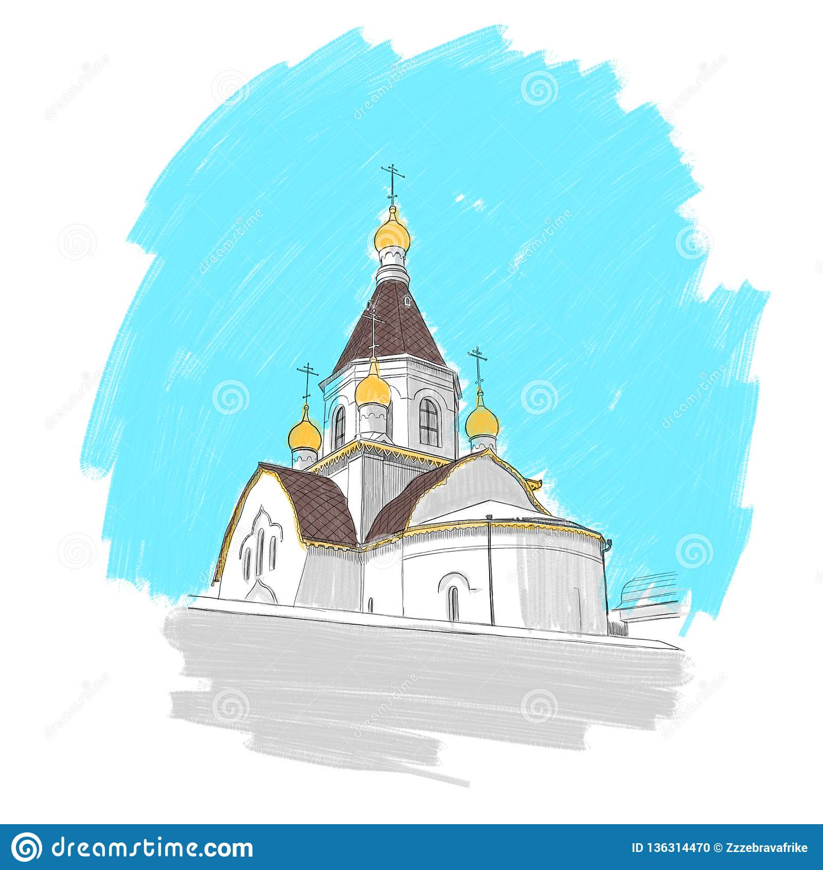 Monastery on the banks of the River in Krasnoyarsk, illustration