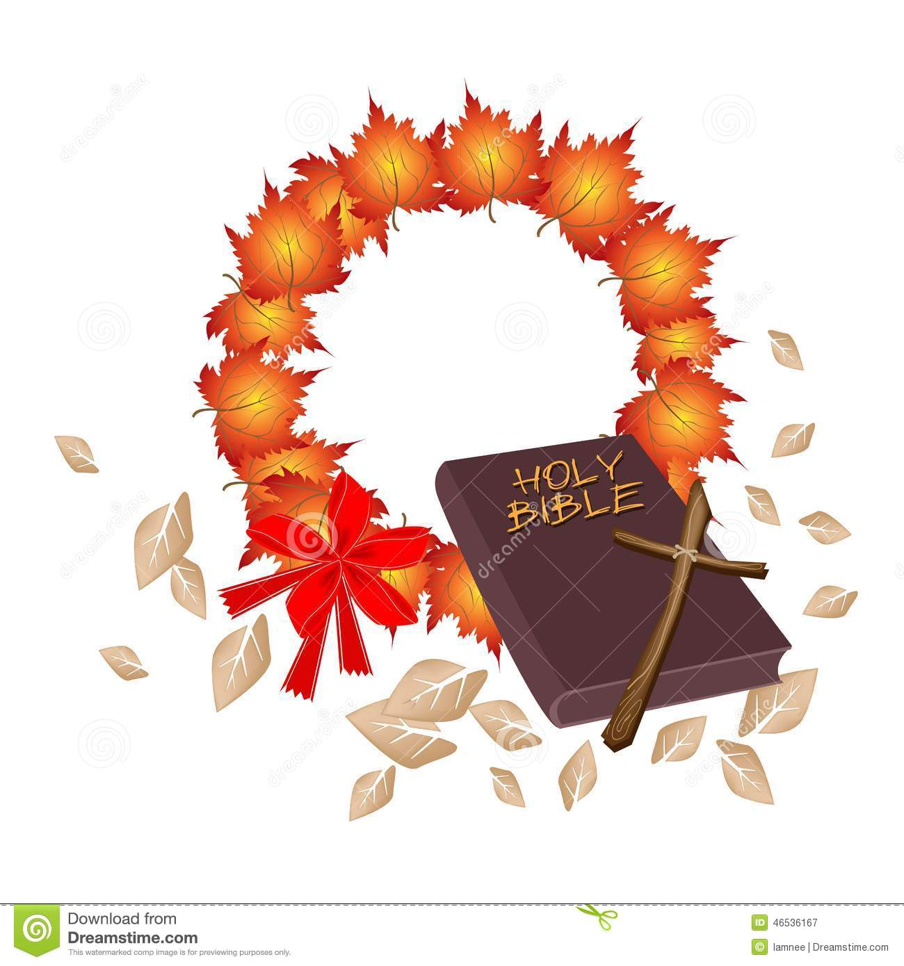 Holy Bible With Christmas Wreath Of Orange Maple Stock Vector ...