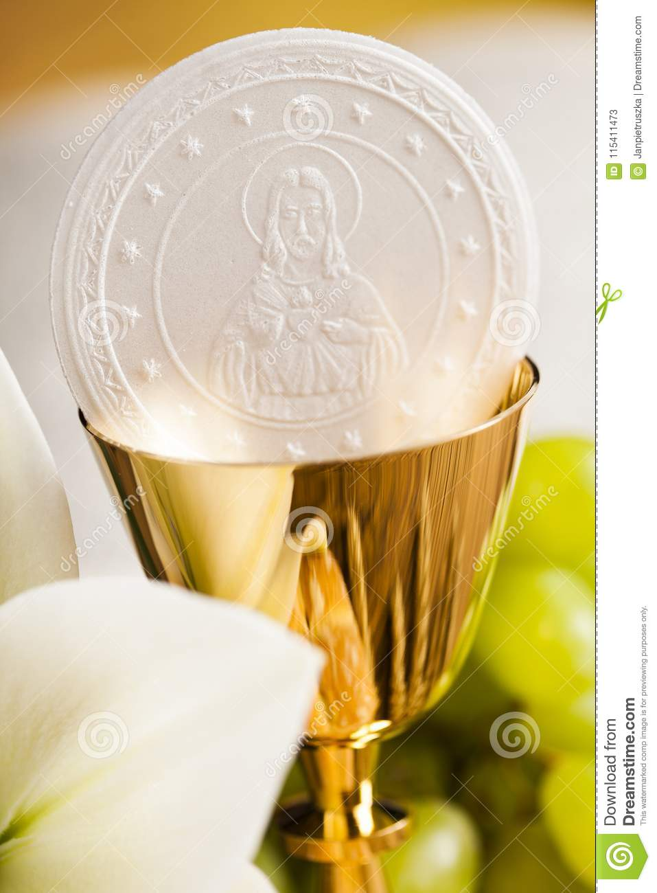Holy Communion Bread Wine For Christianity Religion Stock Image