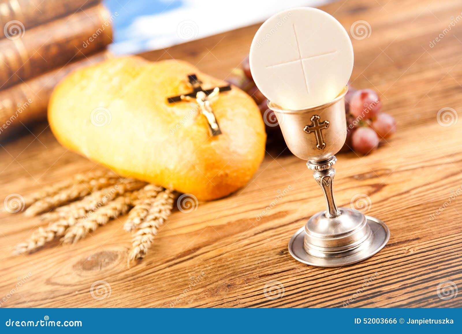 Holy Communion Bread Wine Stock Photo Image Of Christian 52003666