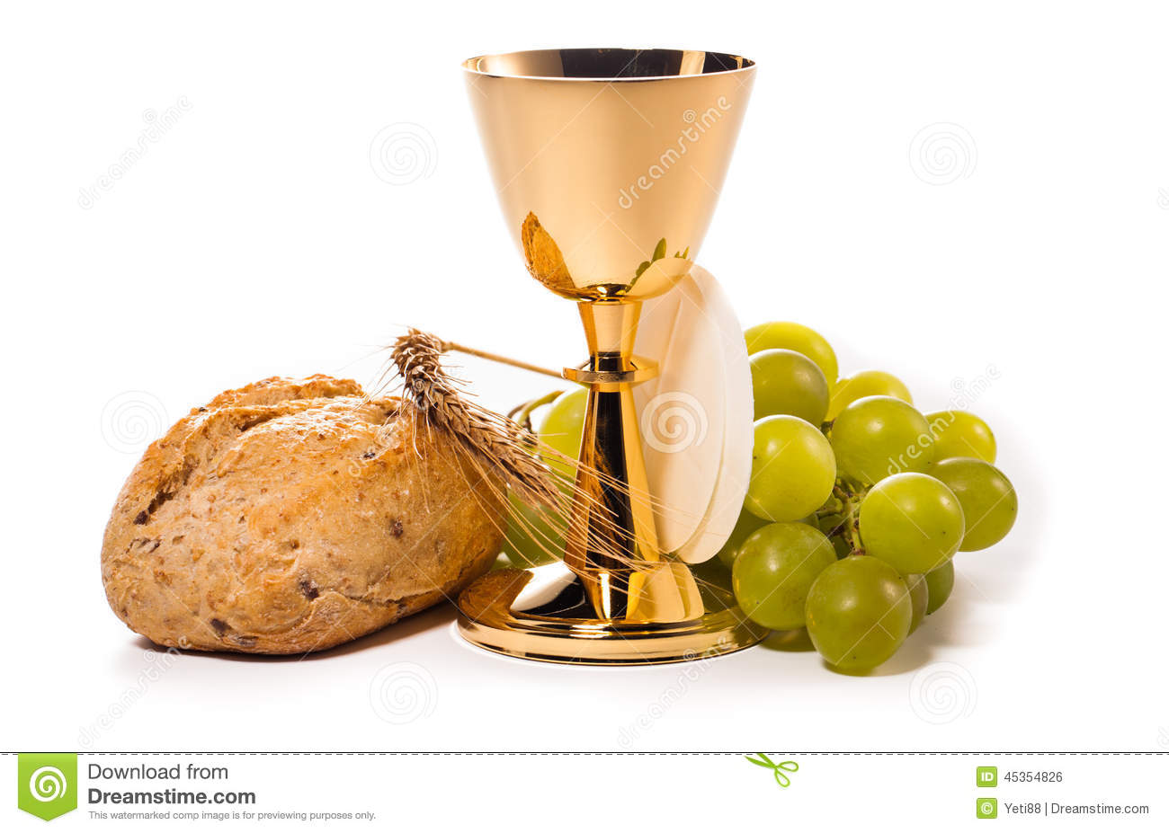 Holy communion chalice composition isolated on white.