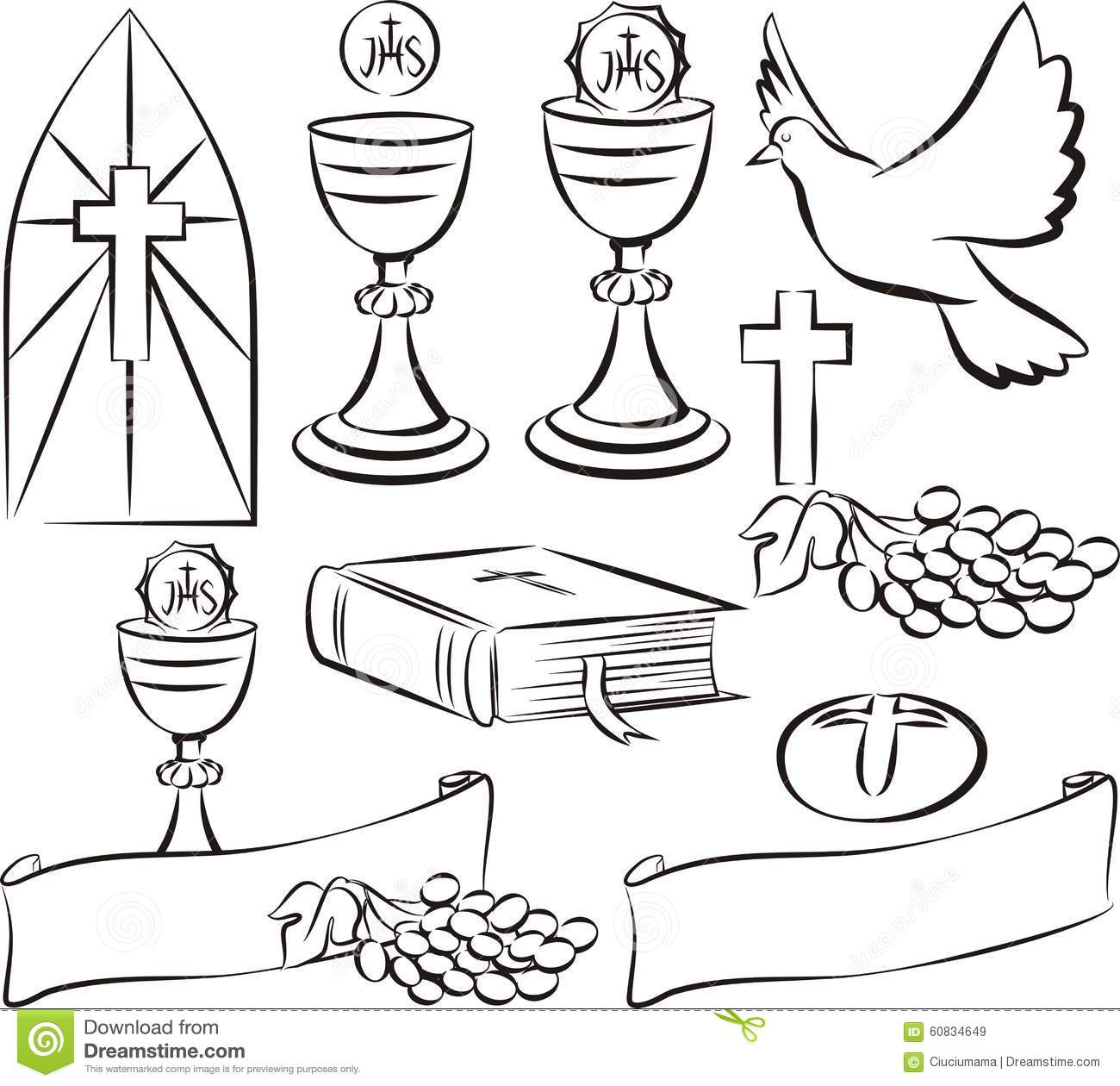 Holy Communion - Vector Symbols Stock Vector - Illustration of With First Communion Banner Templates