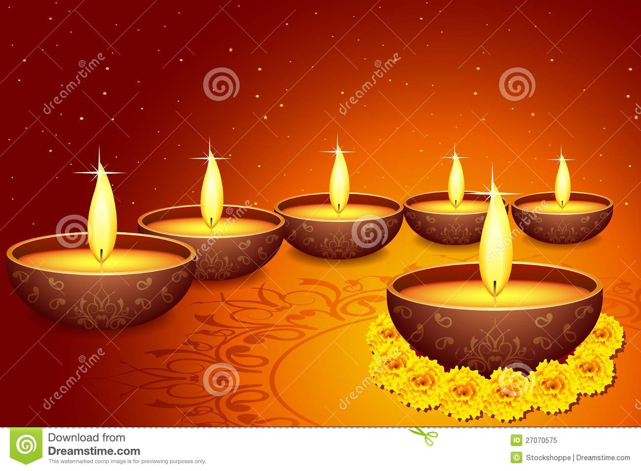 Holy diya for festival stock vector image of greeting