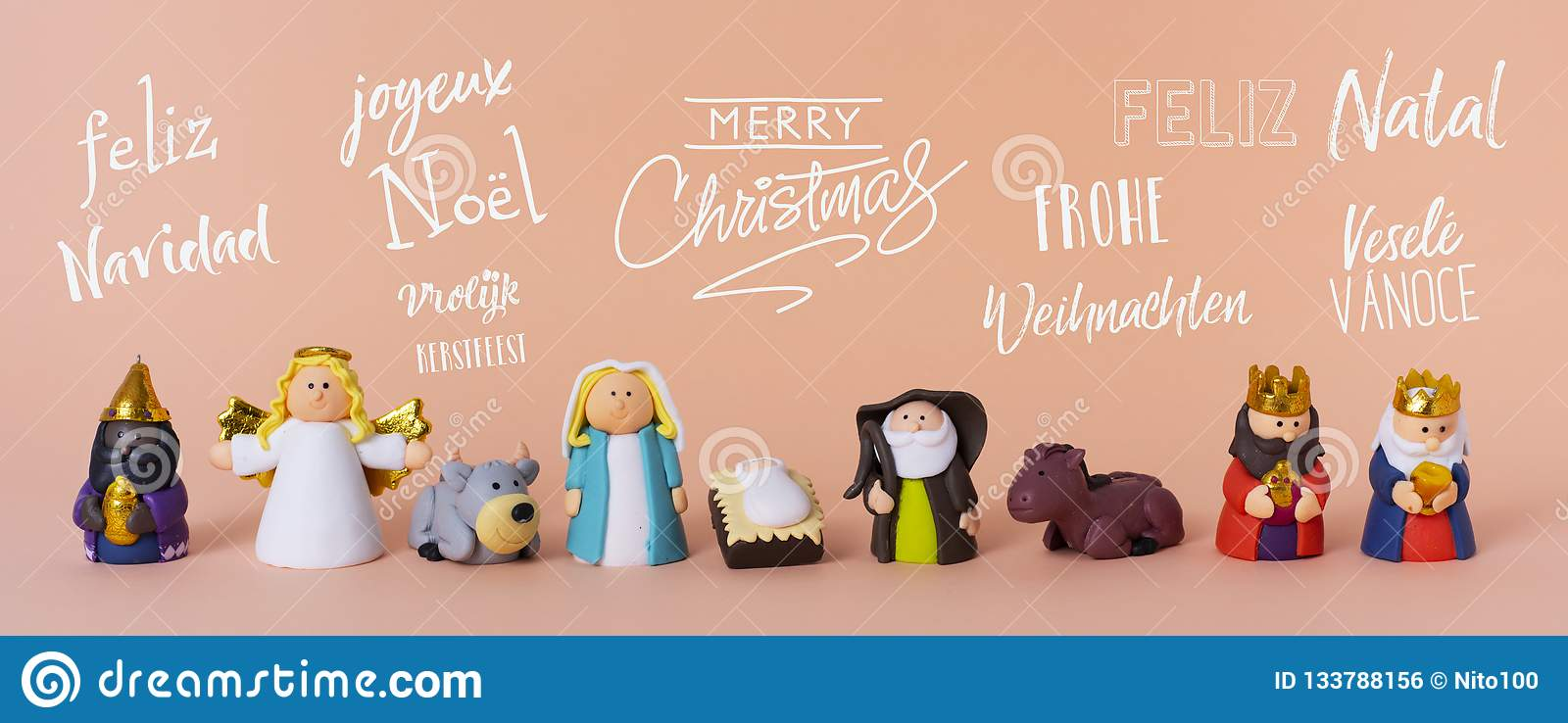 Nativity scene and text merry christmas