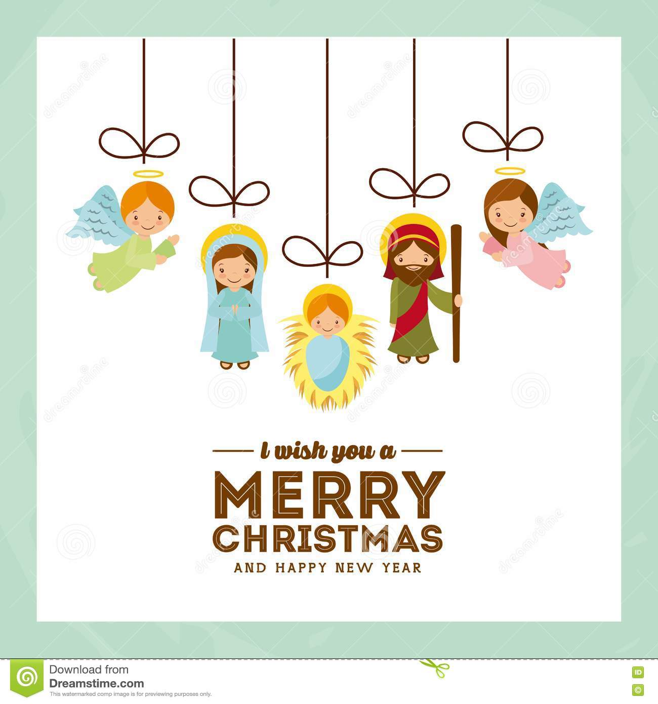 holy family manger scene merry christmas and happy new year card colorful design vector illustration