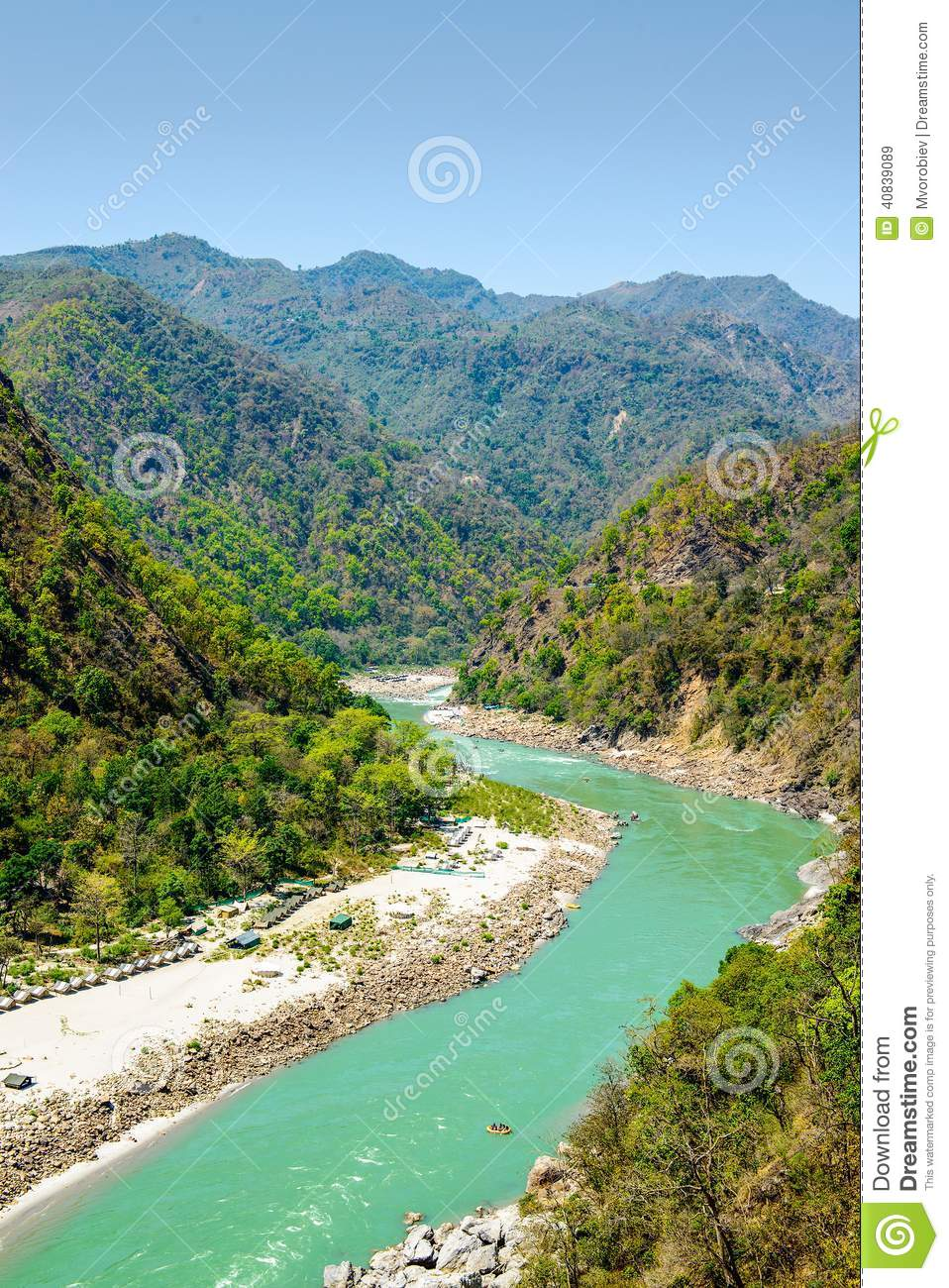 Holy Ganges River Flows In A Valley, India Stock Photo ...