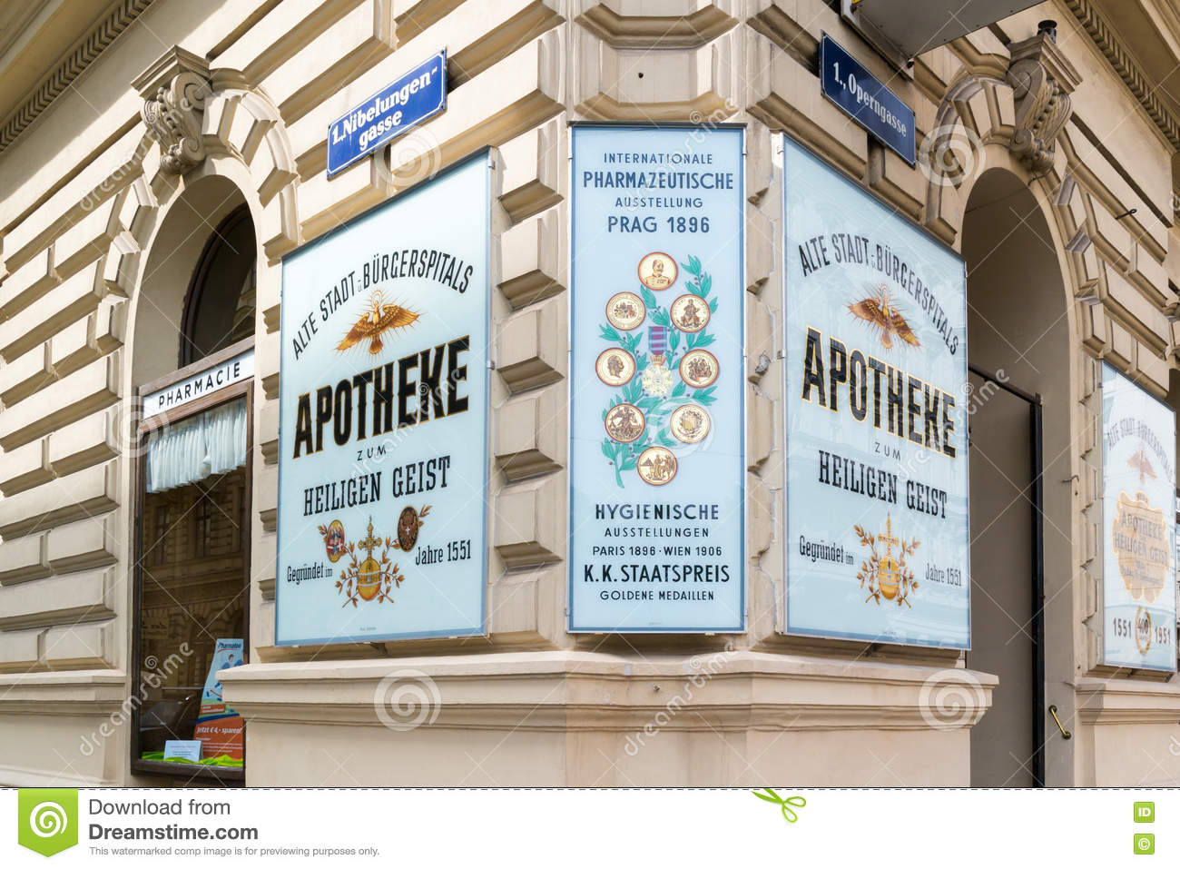 Holy Ghost Pharmacy Facade In Vienna, Austria Editorial Photography