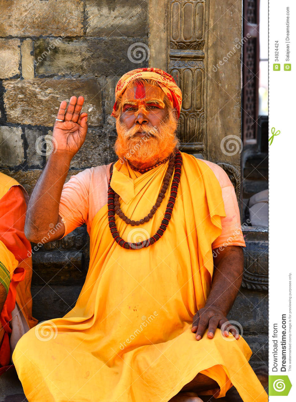 Holy Hindu Sadhu Man In Pashupatinath Nepal Editorial
