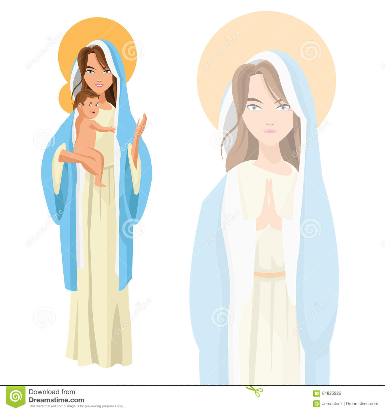 Holy mary baby jesus icon. Vector graphic
