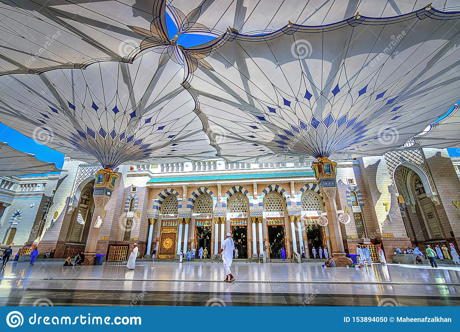 Holy Mosque Entrance View In Madinah Saudi Arabia Editorial Image Image Of Culture Madina 153894050