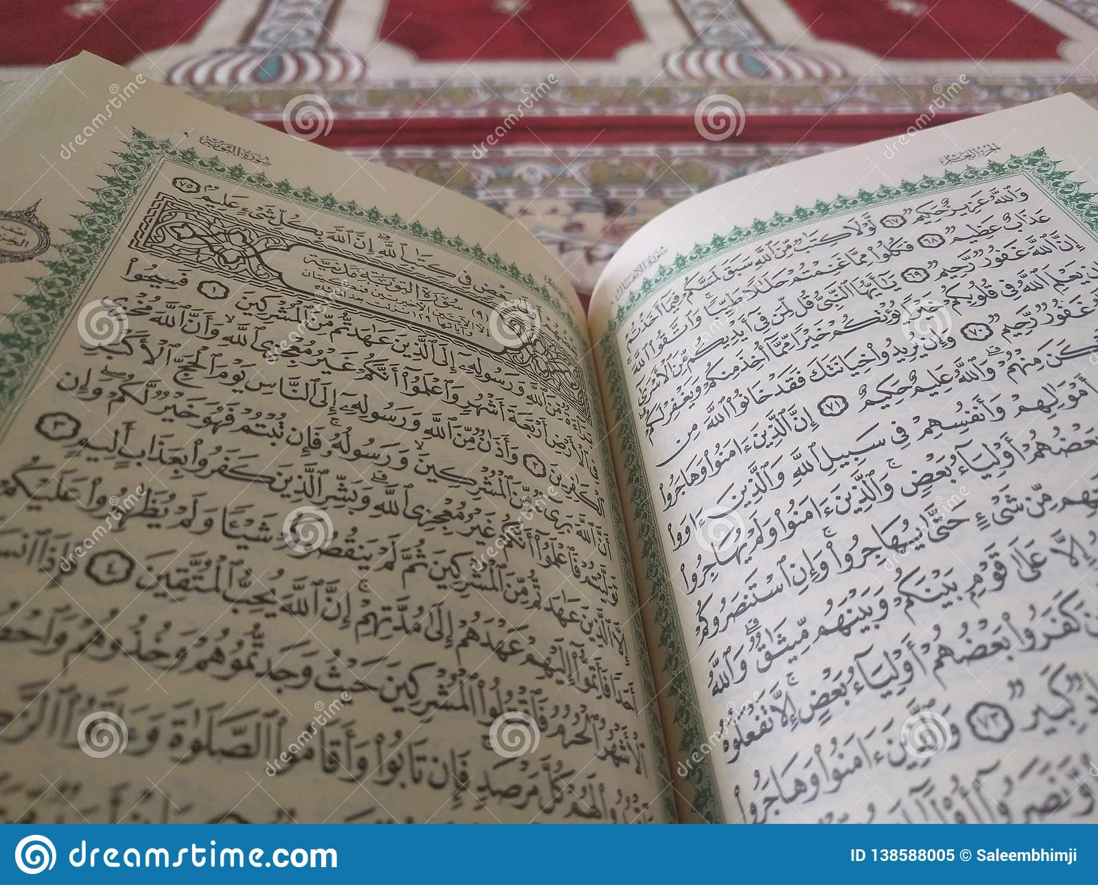 The Holy Quran In English And Arabic On A Beautiful Eastern