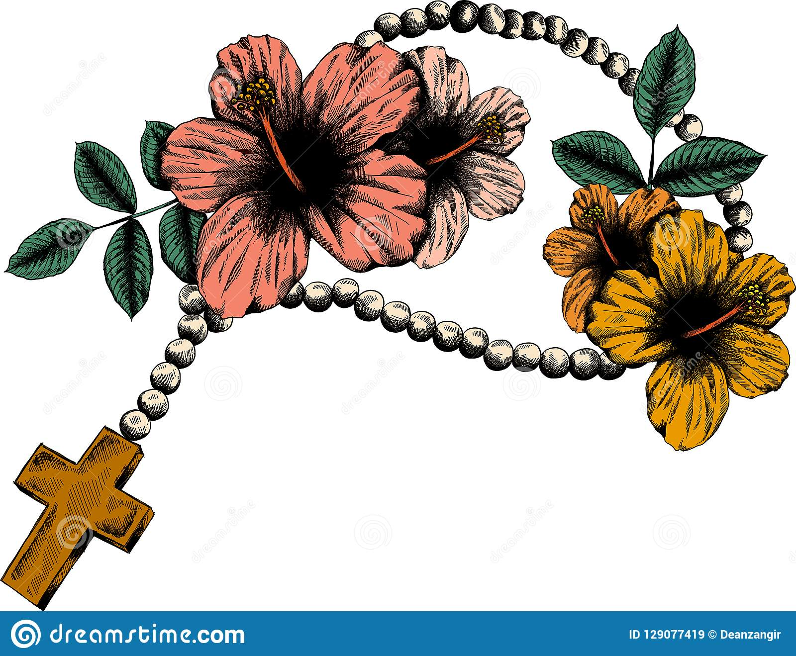 Holy Rosary Beads Illustration Prayer Catholic Chaplet With A Cross