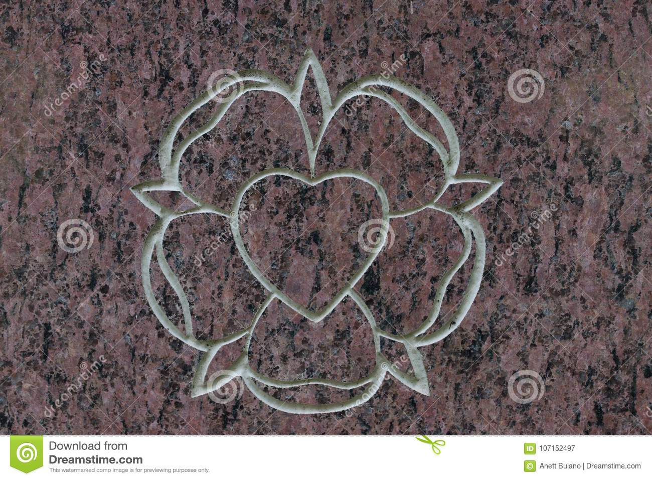 Holy Rose And Sacred Heart On Stone Surface Symbol Of The Holy