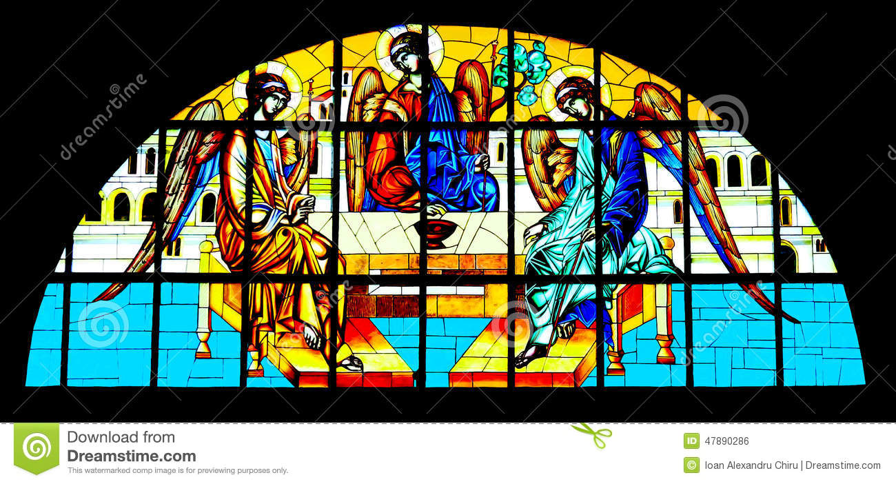 Holy Trinity painted on stained glass in Orthodox Cathedral