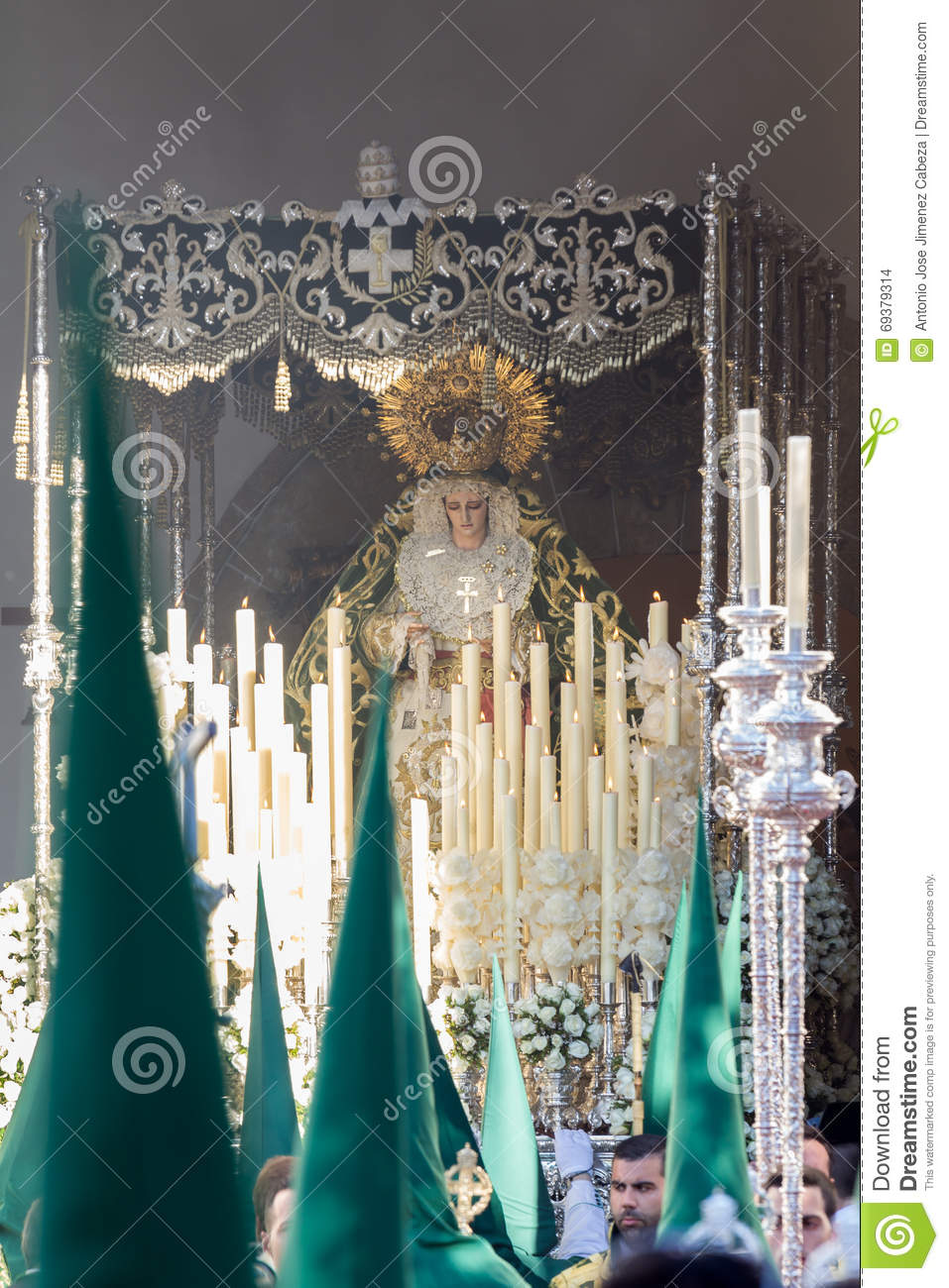 Holy Week in San Fernando, Cadiz, Spain. Our Lady of Grace and Hope Crowned.