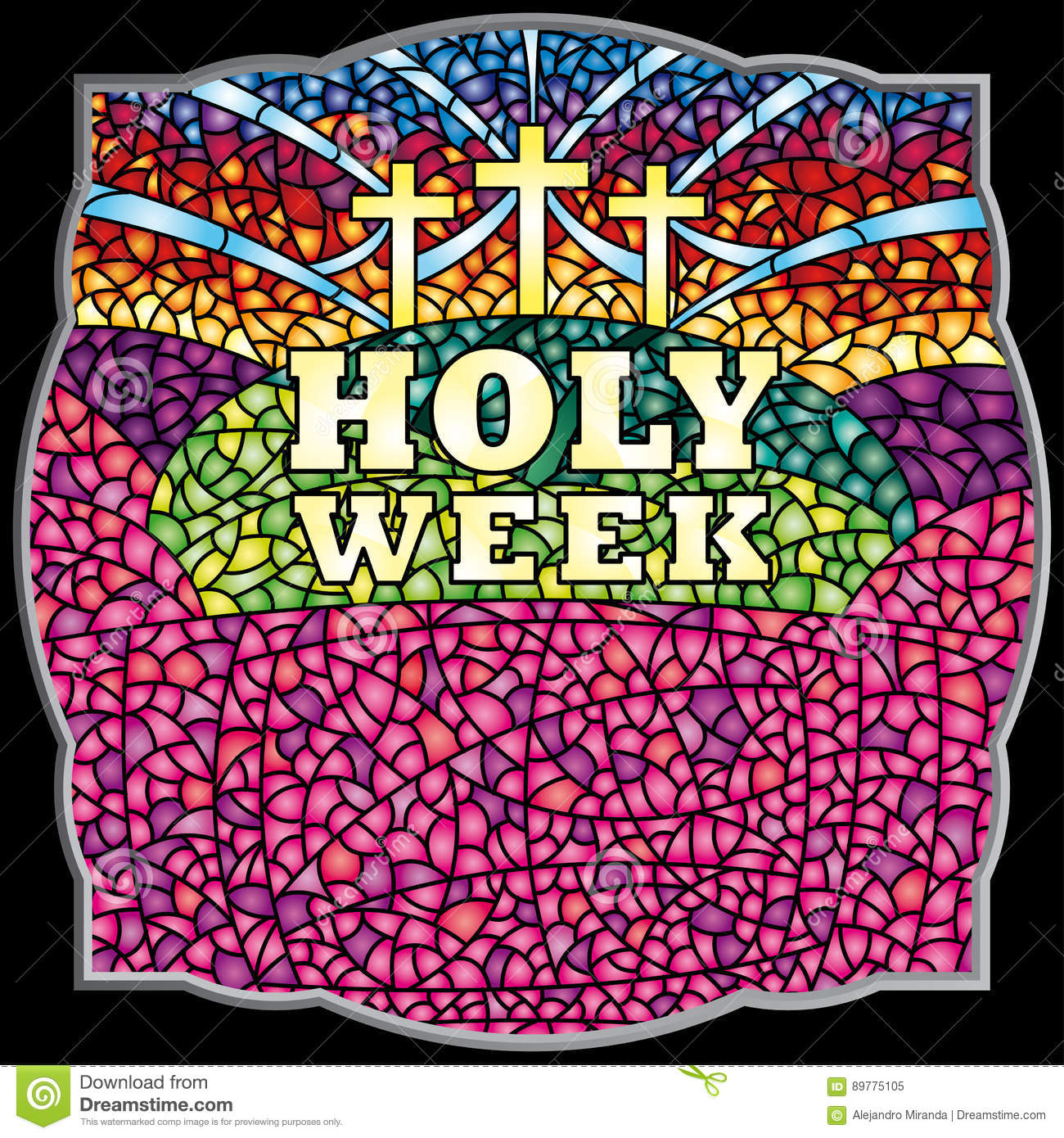 Holy Week In Stained Glass With The Theme Of The Crucifixion Of ...