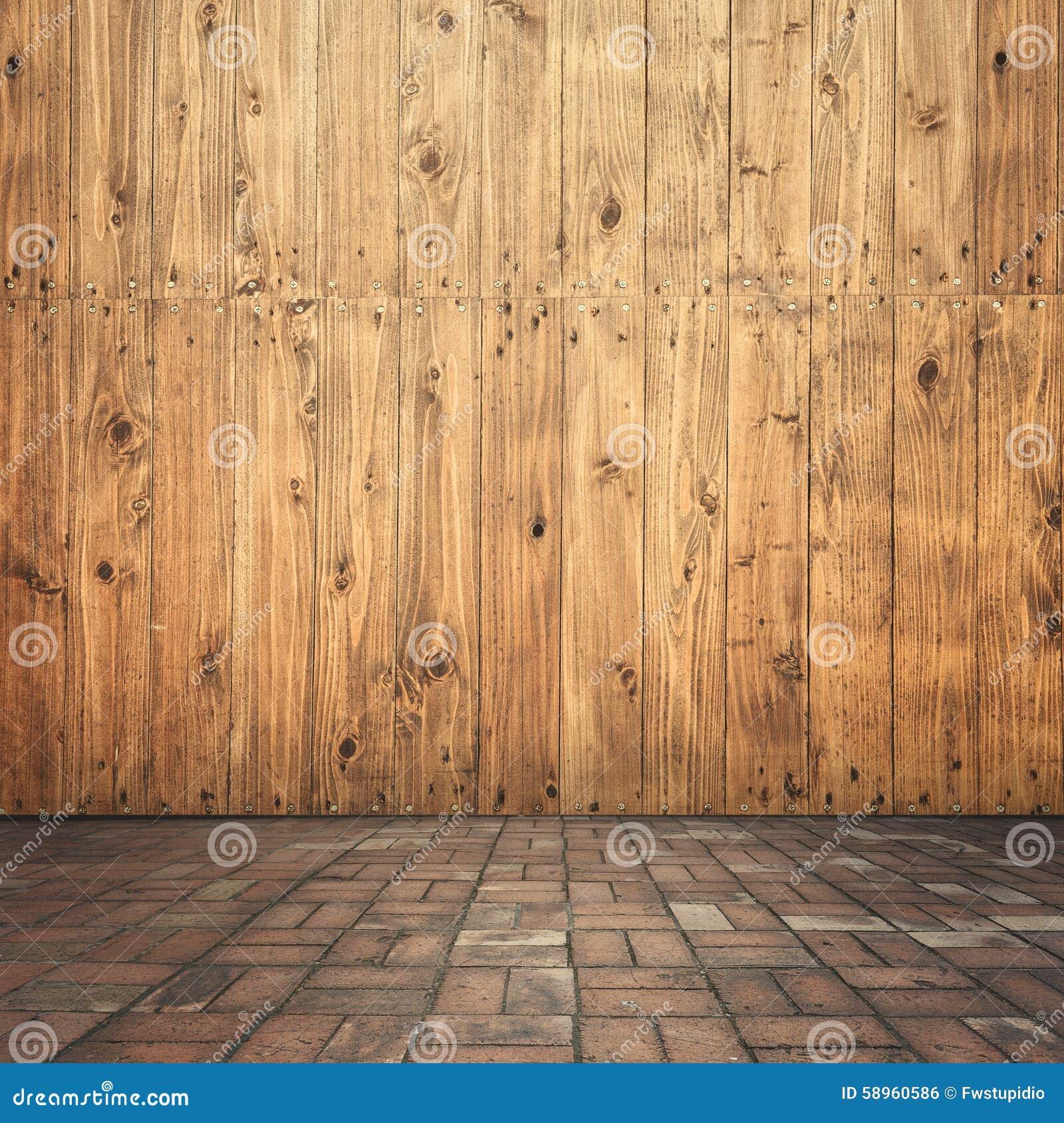 holz auf wand und ziegelsteinboden f r ihr haus und f r hintergrund stockfoto bild 58960586. Black Bedroom Furniture Sets. Home Design Ideas