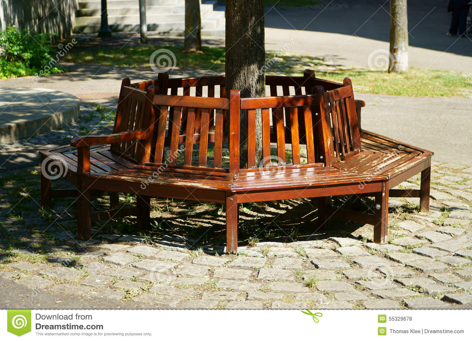 holzbank um einen baum stockfoto bild 55329678. Black Bedroom Furniture Sets. Home Design Ideas