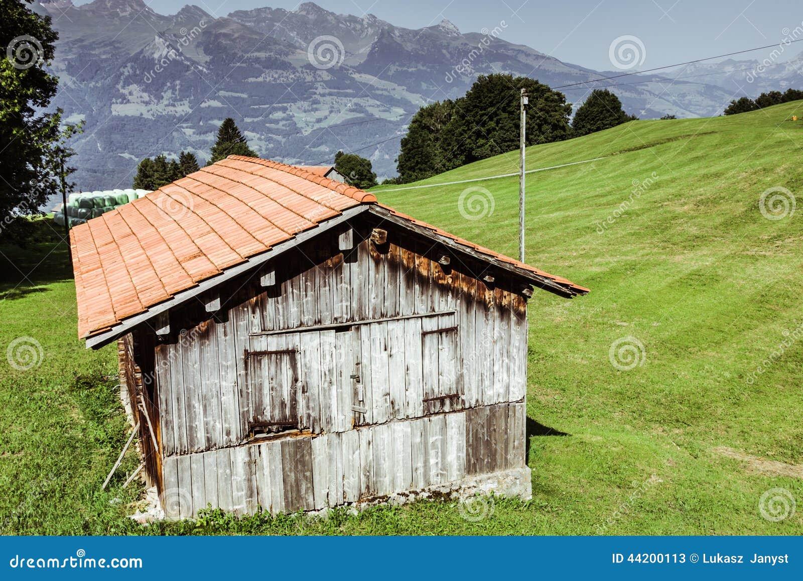 Holzhäuser in Malbun in Lichtenstein, Europa