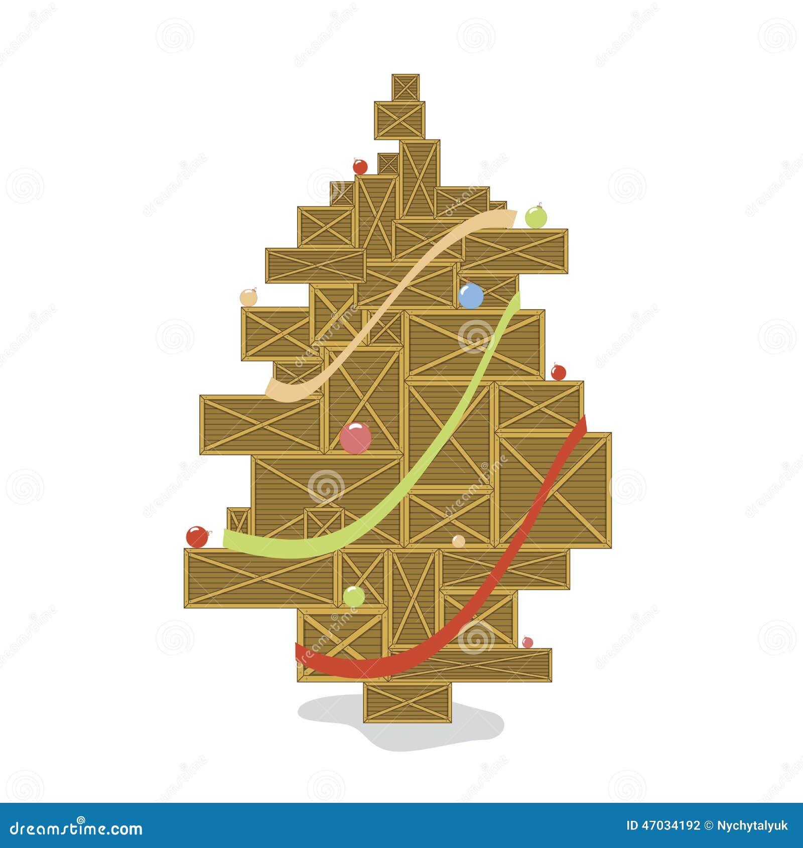 holzkiste stilisierter weihnachtsbaum mit farbb llen. Black Bedroom Furniture Sets. Home Design Ideas