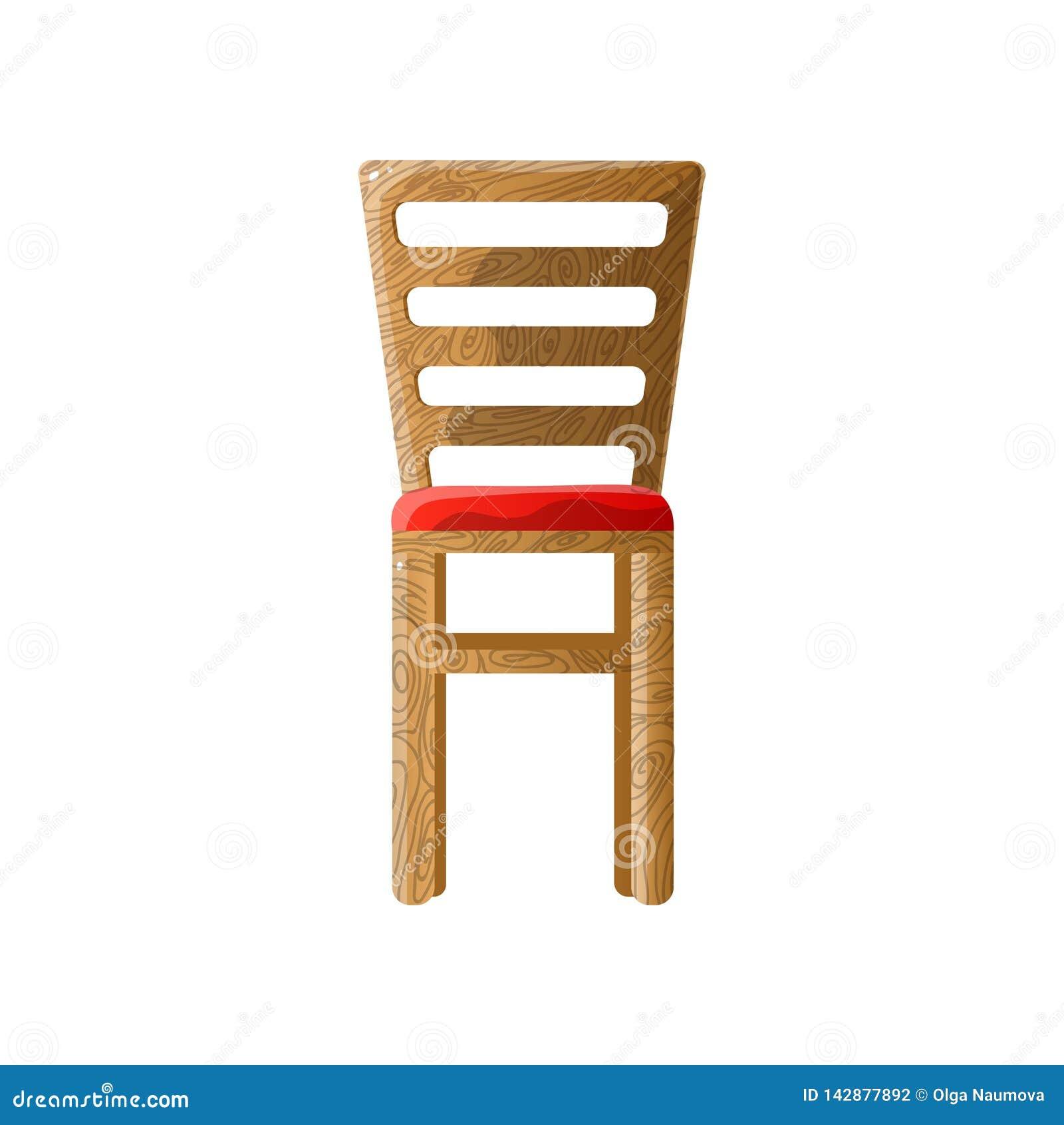 Holzstuhl mit Lamellenrückseite und weichem rotem gepolstertem Sitz
