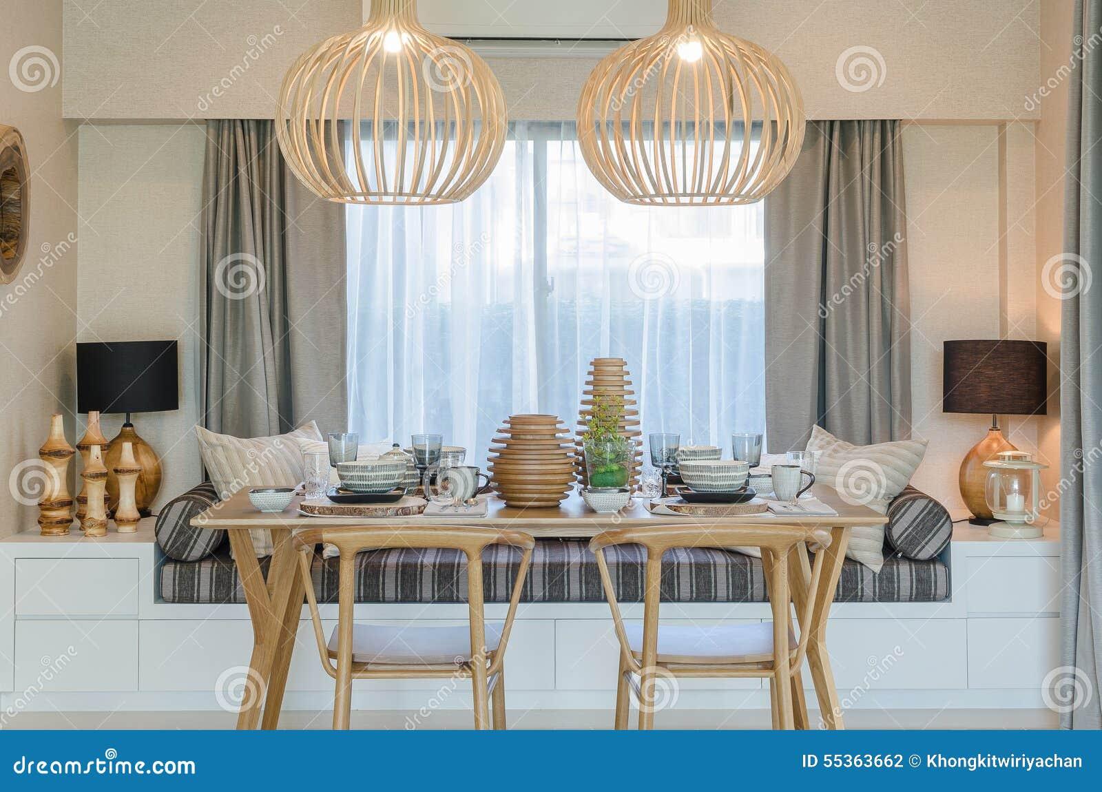 Holztisch Und Stuhl Im Modernen Dinning Raum Stockfoto Bild Von Raum Holztisch 55363662