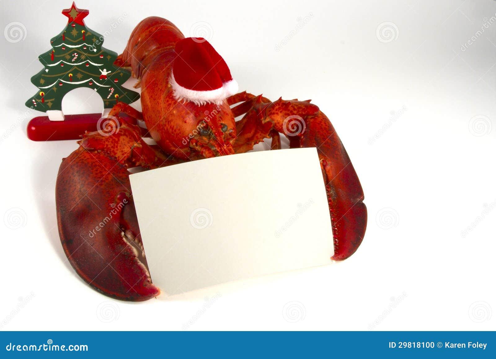 Homard De Noël Avec Le Menu Photo Stock Image Du Noël