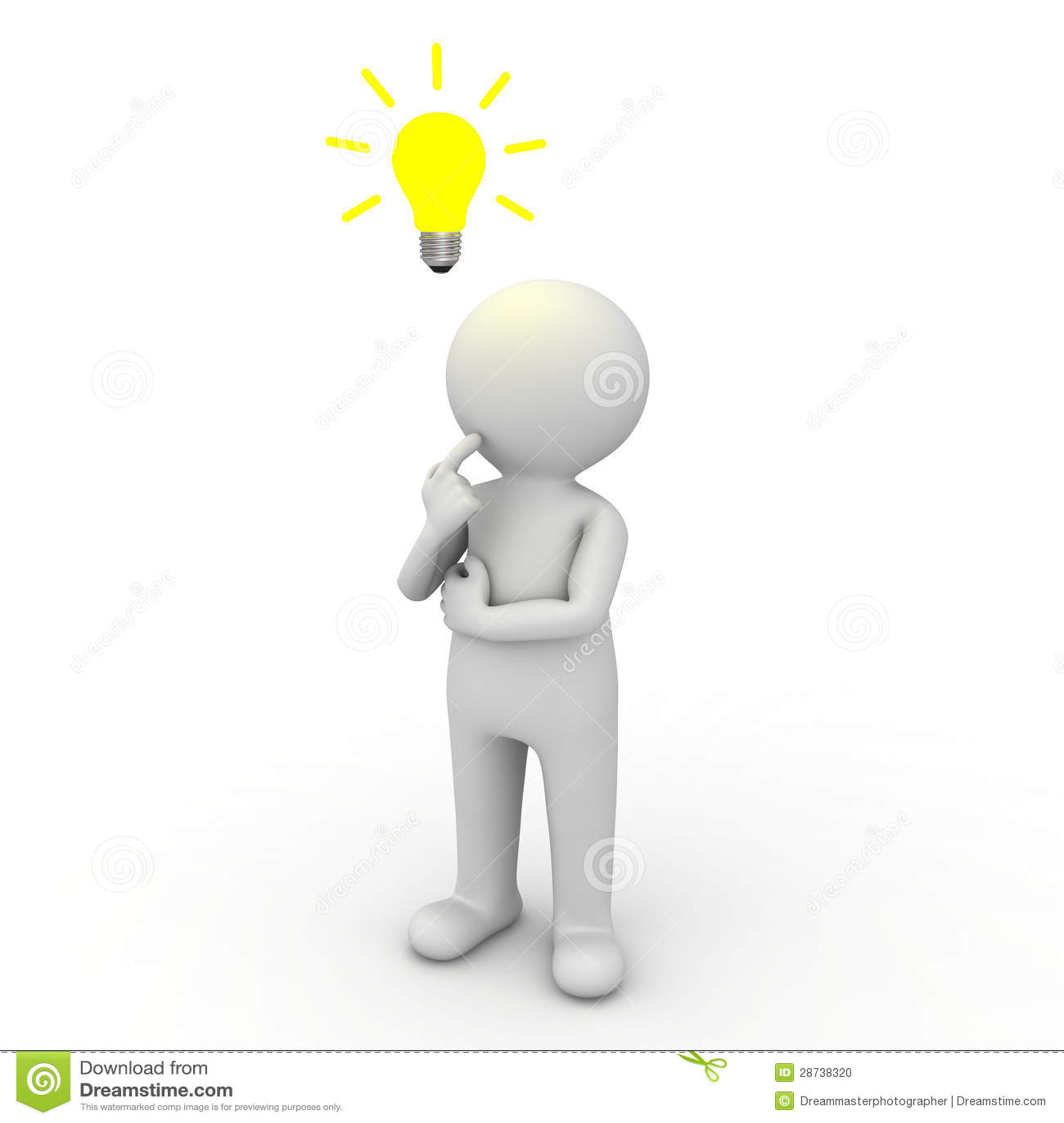 Hombre 3d que piensa con el bulbo de la idea sobre su cabeza