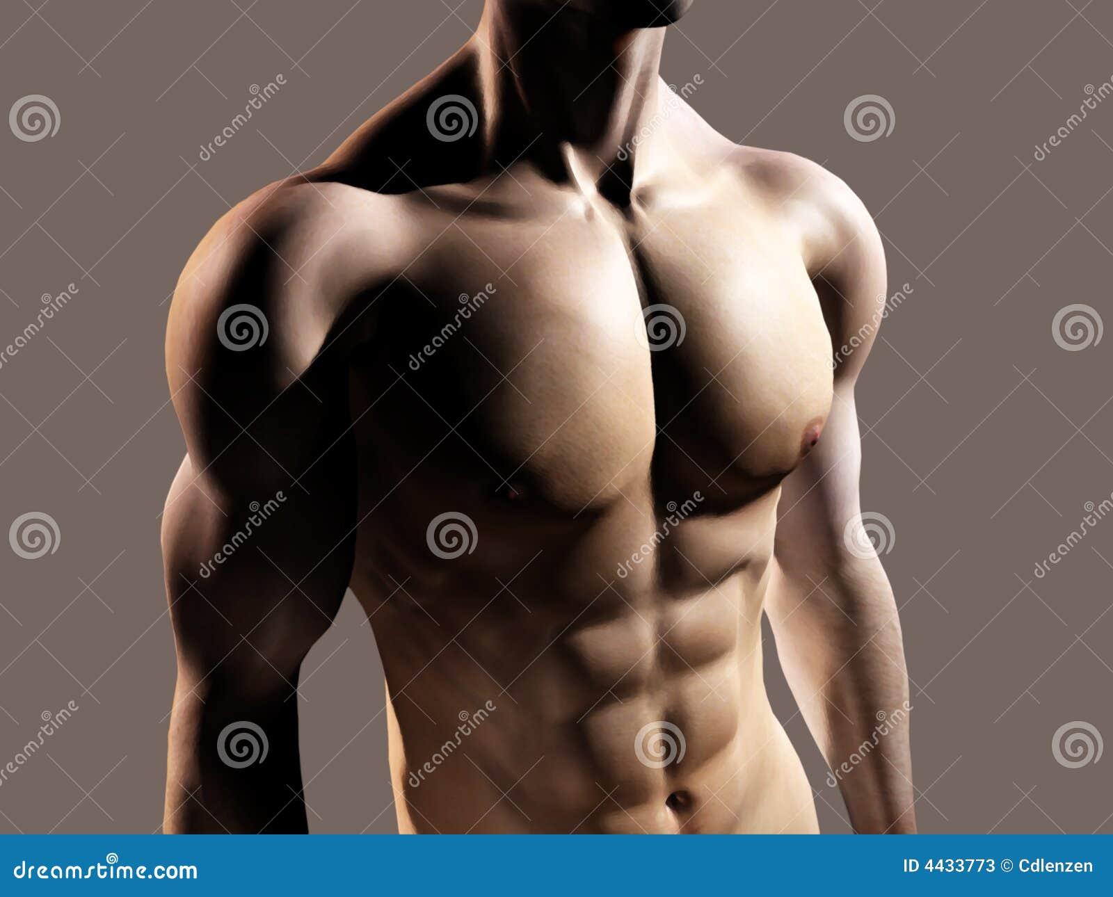Hombre apto que muestra el pecho y el ABS