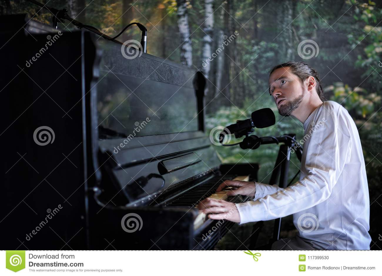 Hombre Barbudo Hermoso Joven Que Juega El Piano Y Que Canta En El Bosque B Foto De Archivo Imagen De Hombre Fondo 117399530