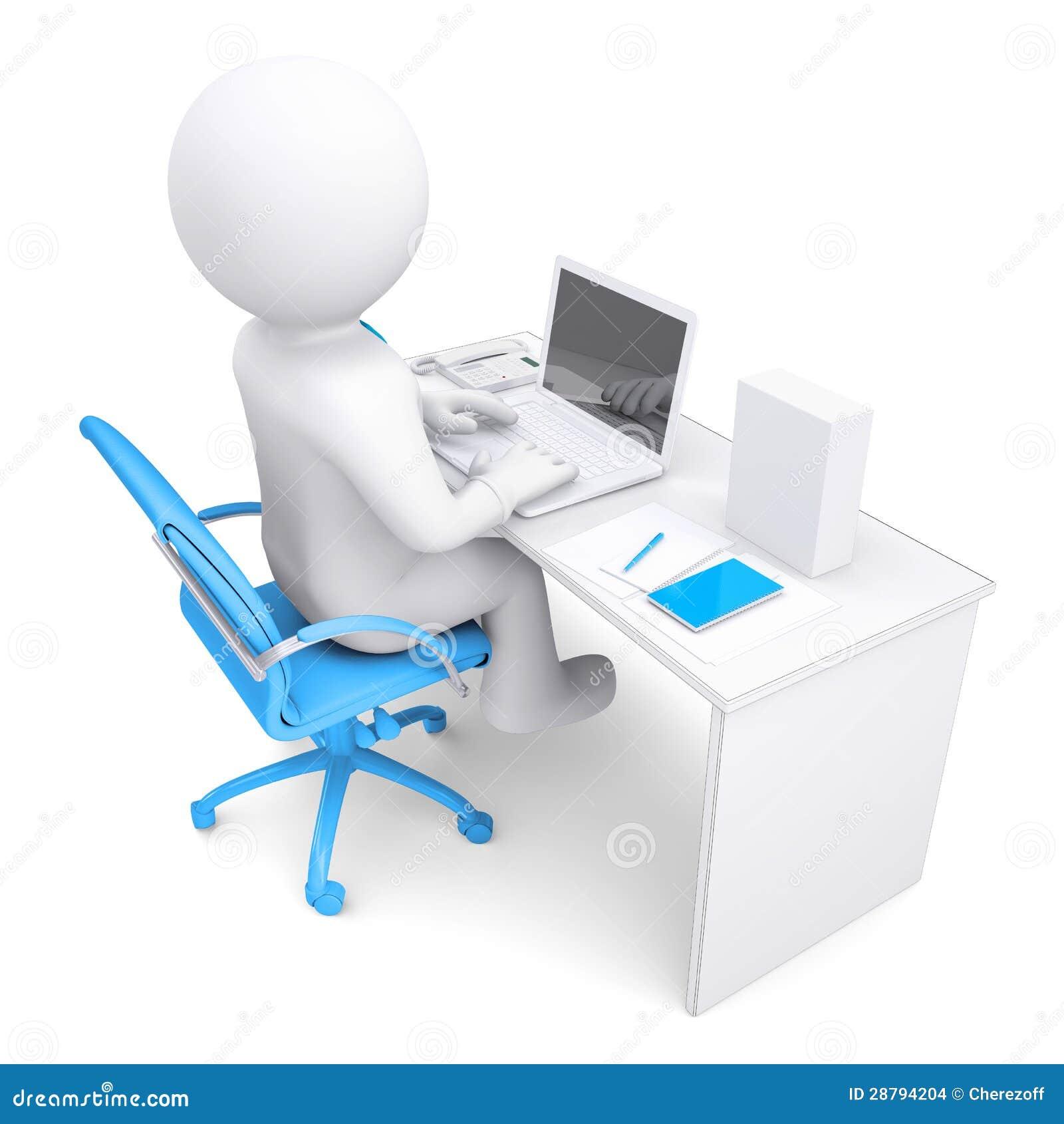 Hombre blanco 3d que trabaja en una computadora port til for Fondos de computadora en 3d