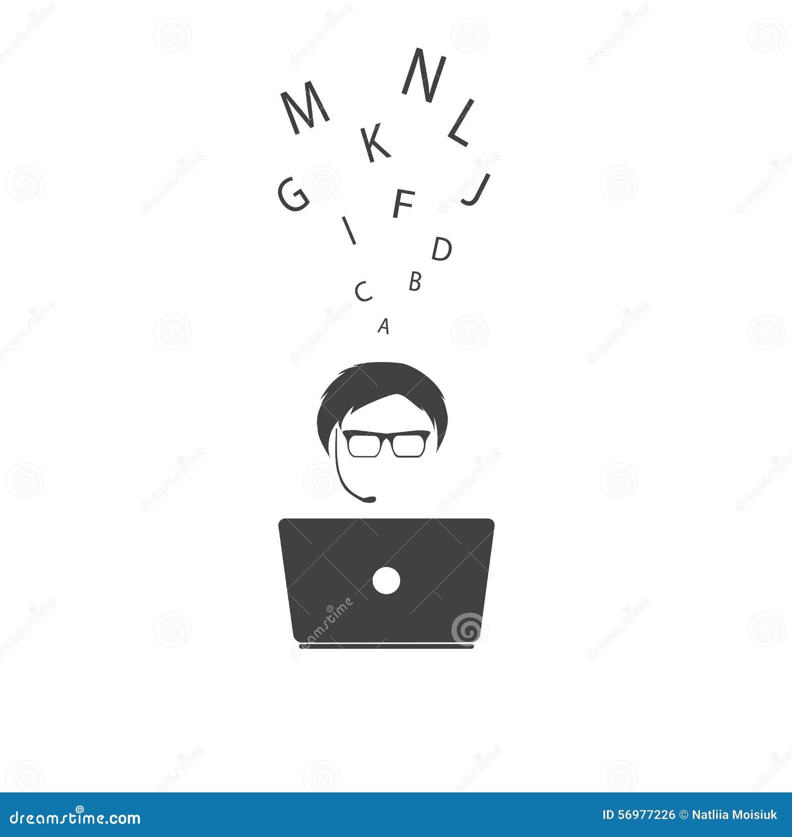 Hombre con el cuaderno Ilustración del vector