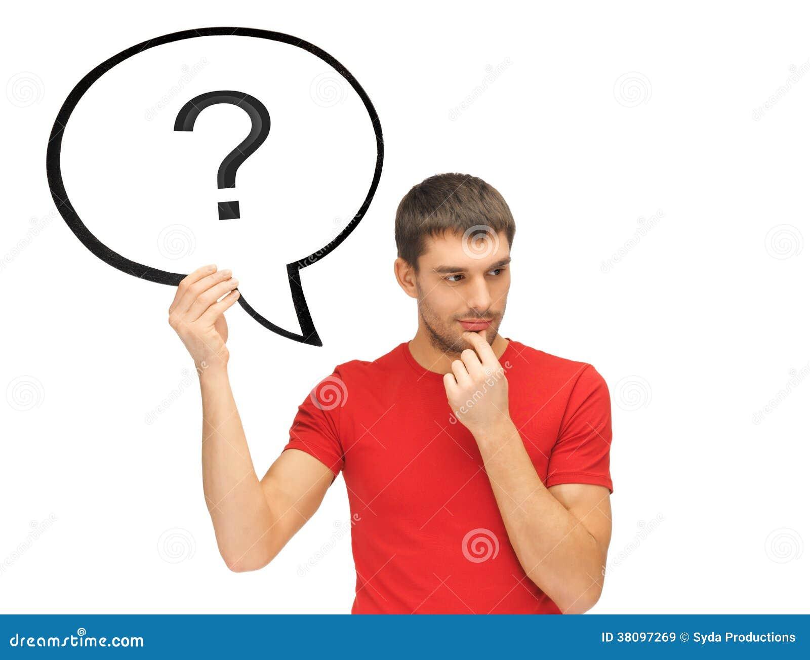 Hombre con el signo de interrogación en burbuja del texto