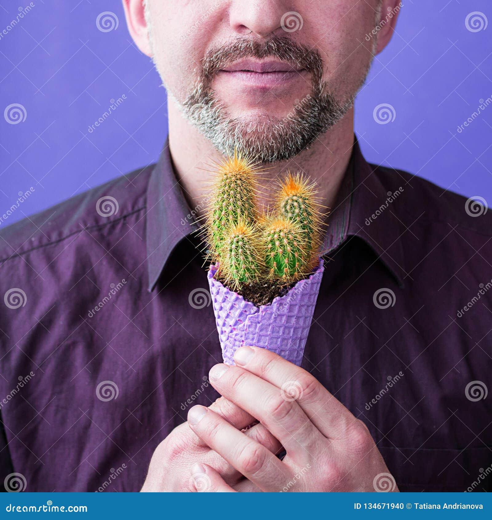 Hombre con la barba con el maíz violeta del helado con el cactus en sus manos